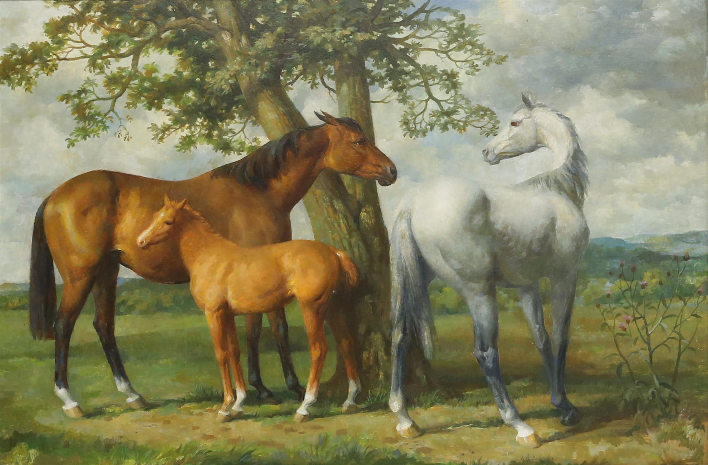 § Lionel Ellis (1903-1988) Three Horses in a Meadow. Oil on canvas, unsigned. 75 x 50cm.