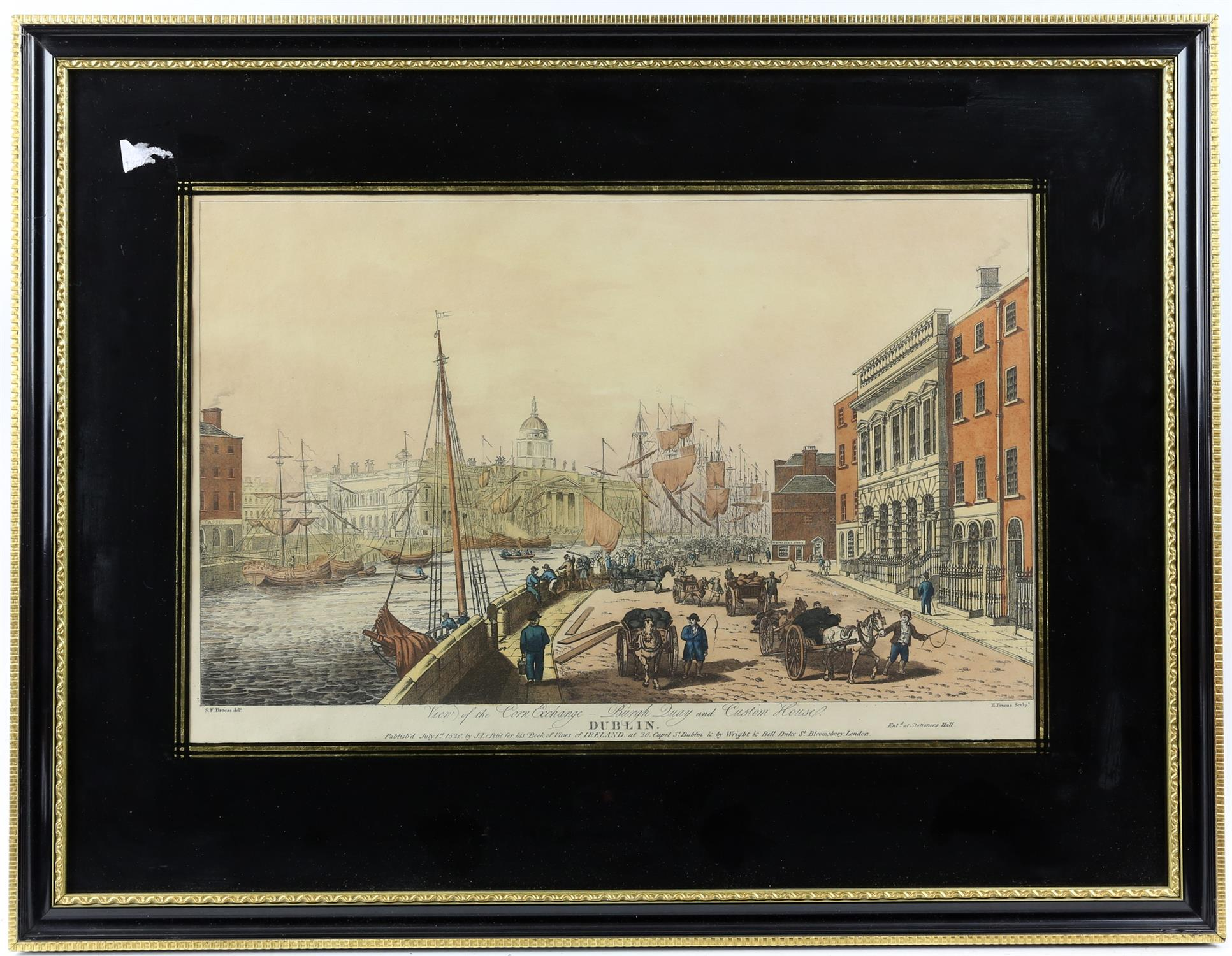 Henry Brocas. View of the Corn Exchange, Burgh Quay and Custom House, Dublin. H/col engraving after - Image 2 of 3