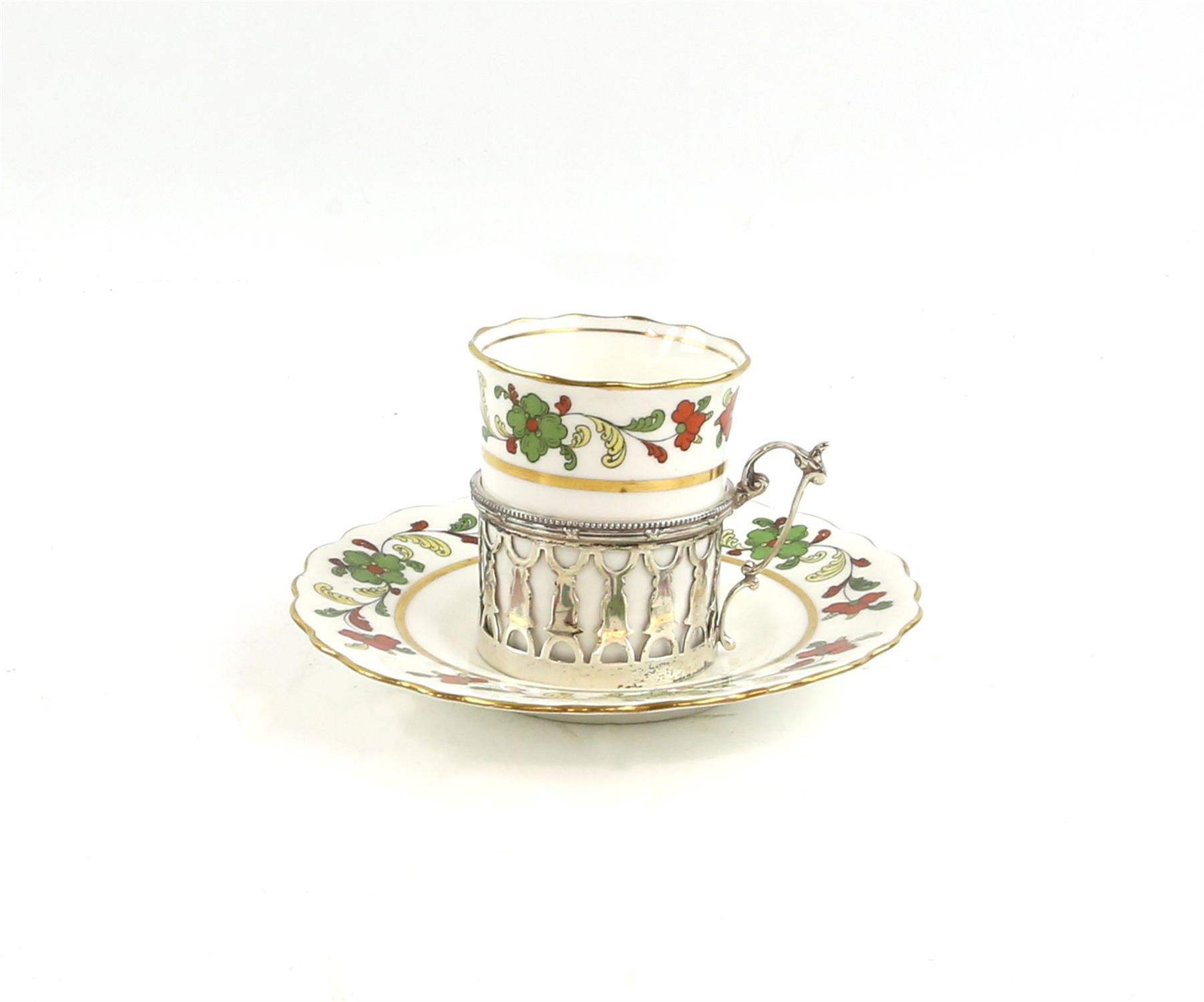 George V Aynsley coffee set with six coffee cups in silver holders, London 1912, and saucers, - Image 2 of 7