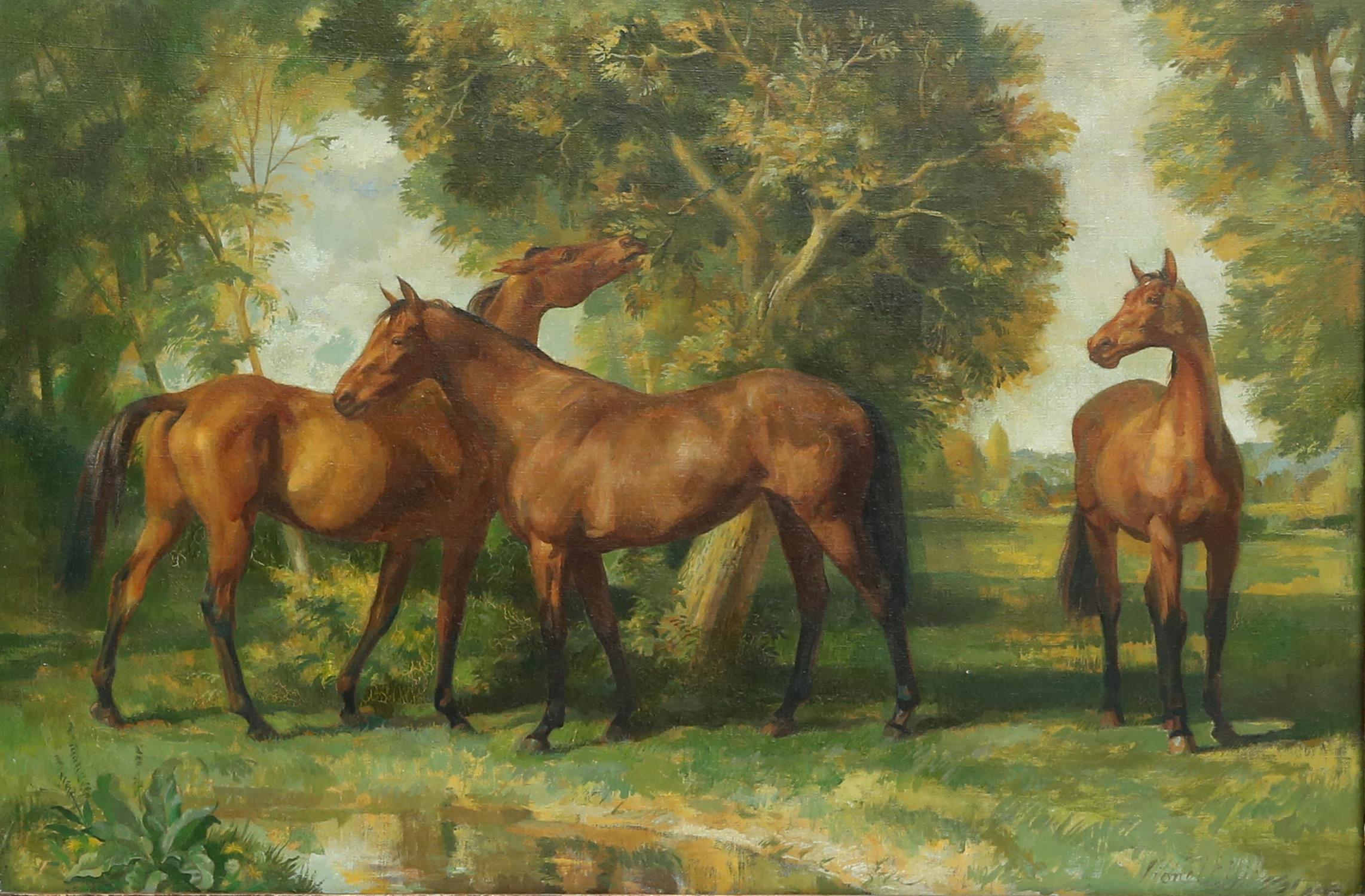§ Lionel Ellis (1903-1988). Three Horses Standing Beneath a Tree. Signed lower right. Oil on canvas.