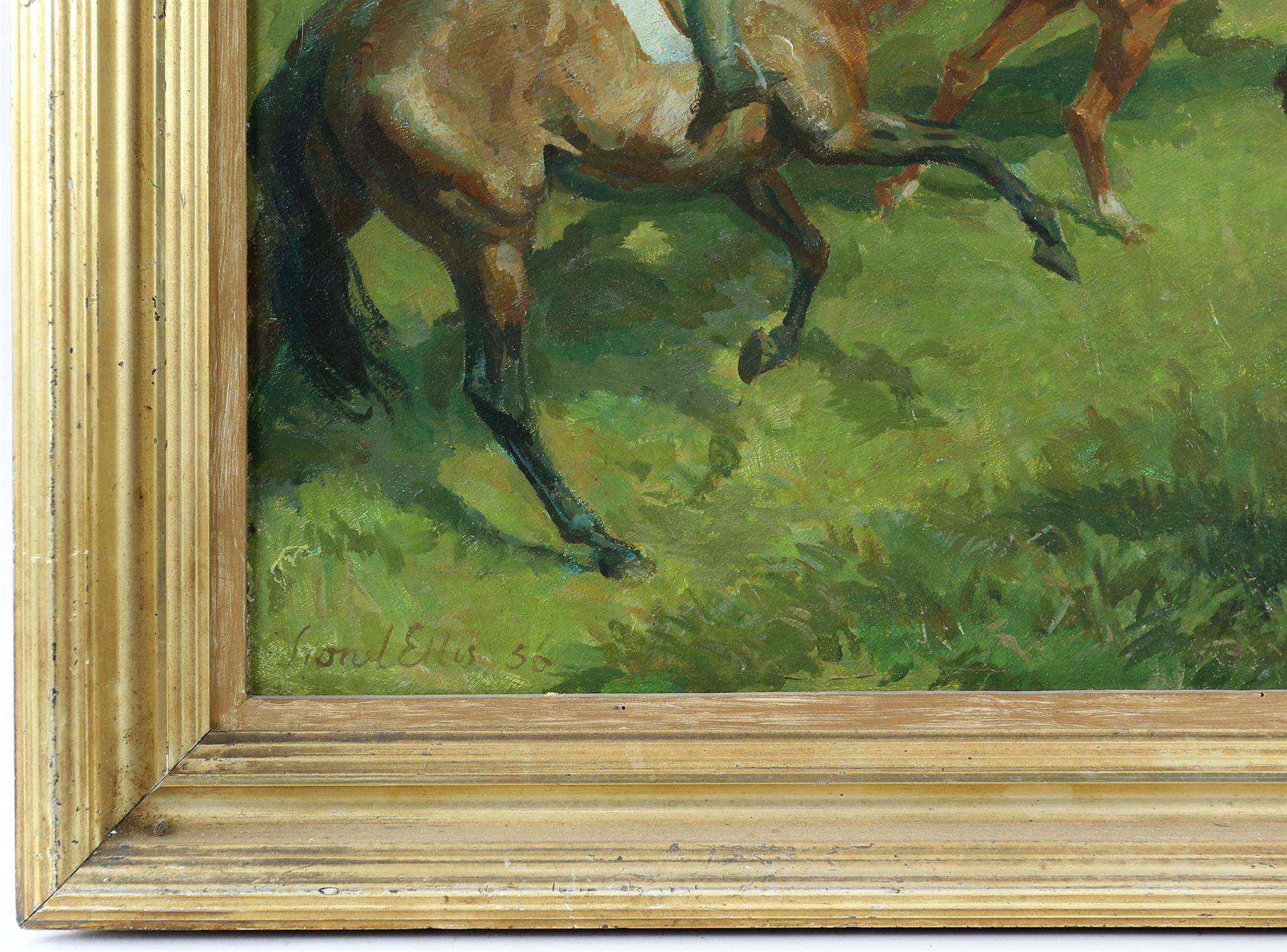 § Lionel Ellis (1903-1988) Horsemen on a hillside. Oil in board 1956, signed and dated lower left. - Image 3 of 4
