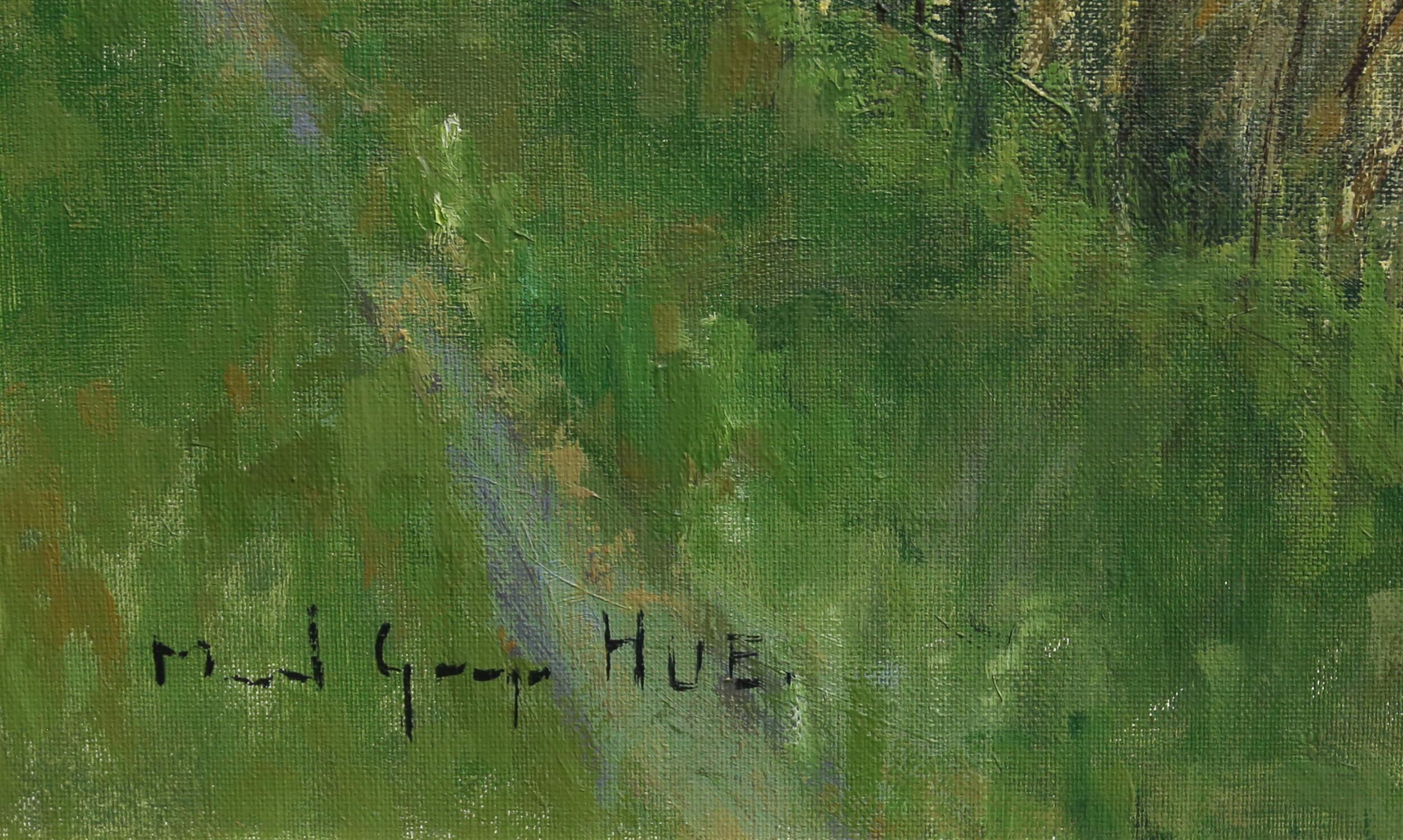Marcel Georges Hue (b. 1907). 'Les Paysage en Briere', lakeside landscape. Oil on canvas, - Image 3 of 3