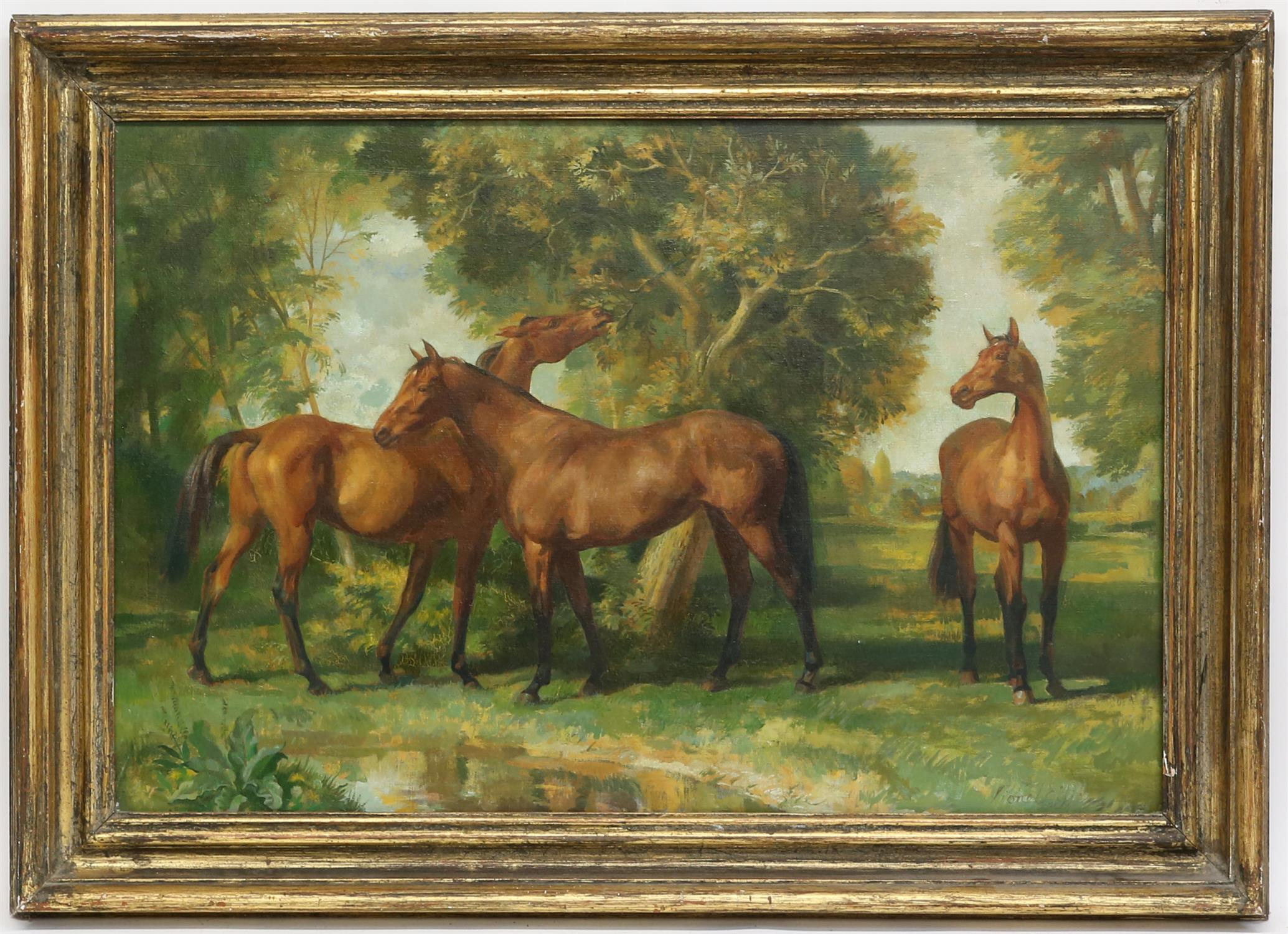 § Lionel Ellis (1903-1988). Three Horses Standing Beneath a Tree. Signed lower right. Oil on canvas. - Image 2 of 4
