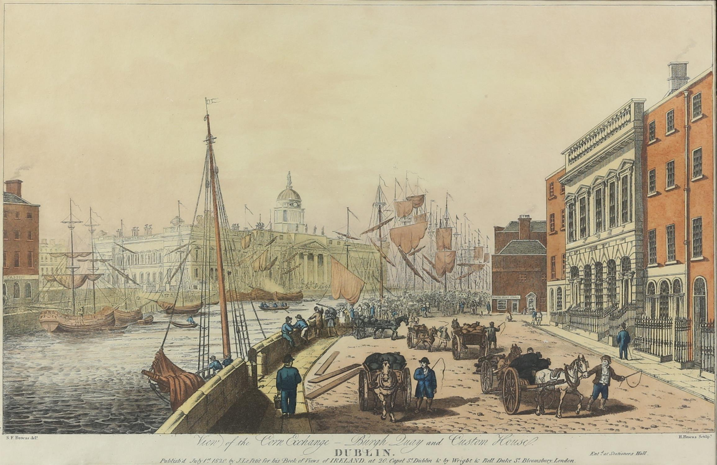 Henry Brocas. View of the Corn Exchange, Burgh Quay and Custom House, Dublin. H/col engraving after