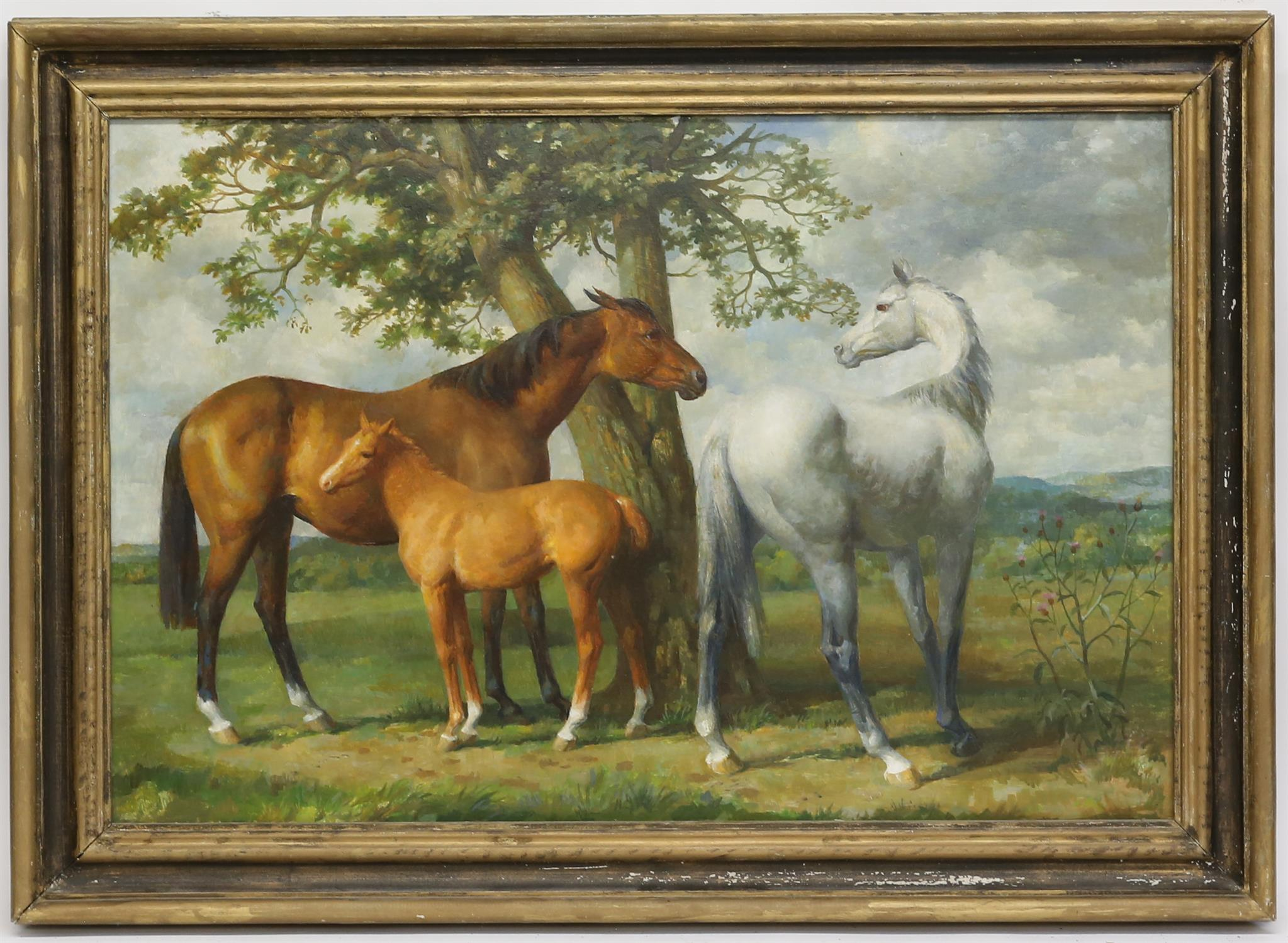 § Lionel Ellis (1903-1988) Three Horses in a Meadow. Oil on canvas, unsigned. 75 x 50cm. - Image 2 of 3