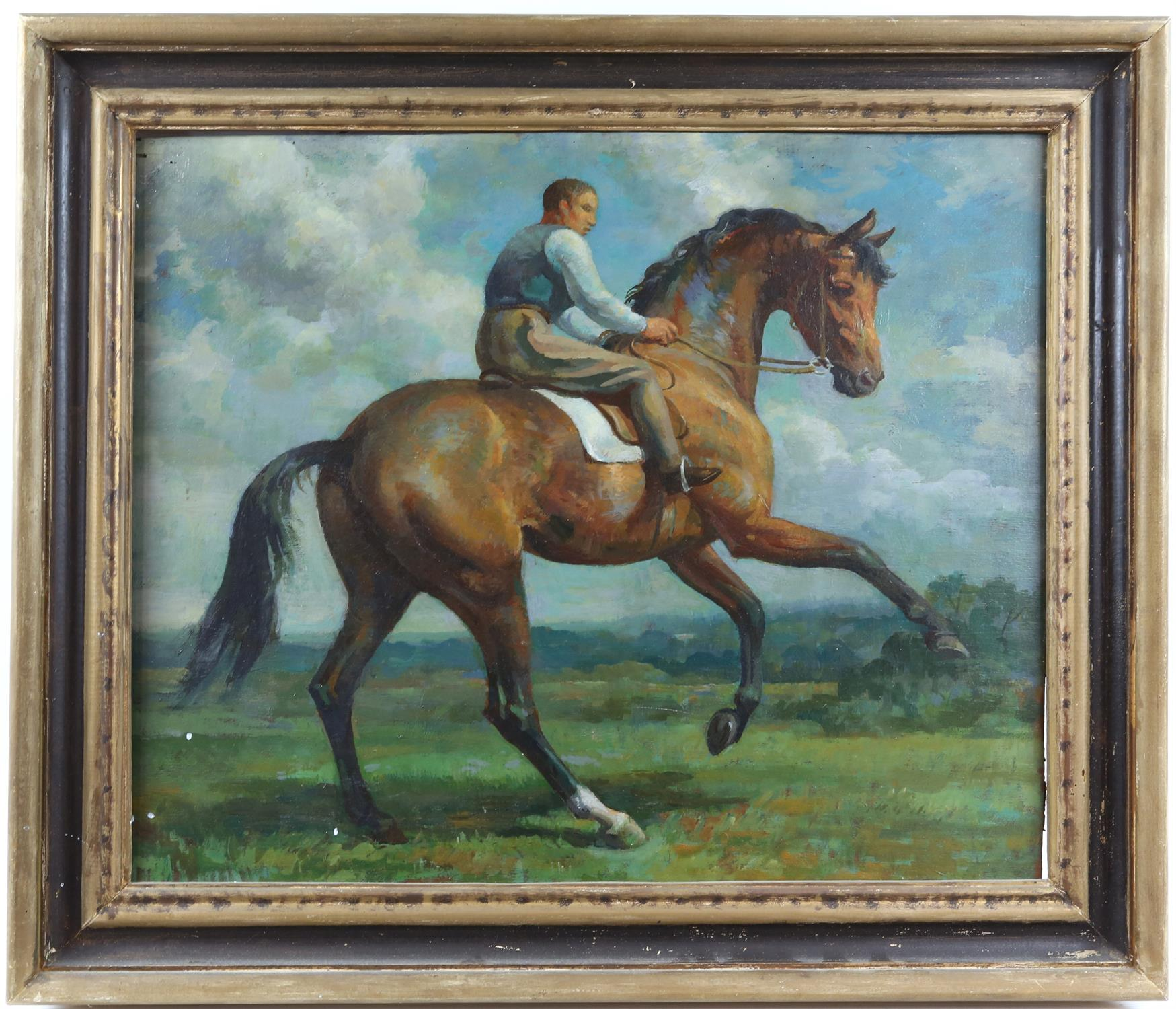 § Lionel Ellis (1903-1988) Rider on a Spirited Horse. Oil on board, indistinctly signed lower right - Image 2 of 4