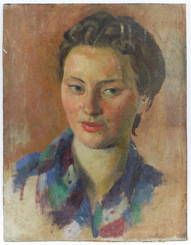 § Lionel Ellis (1903-1988), Portrait of a Woman. Oil on board, unsigned. 46 x 36cm.