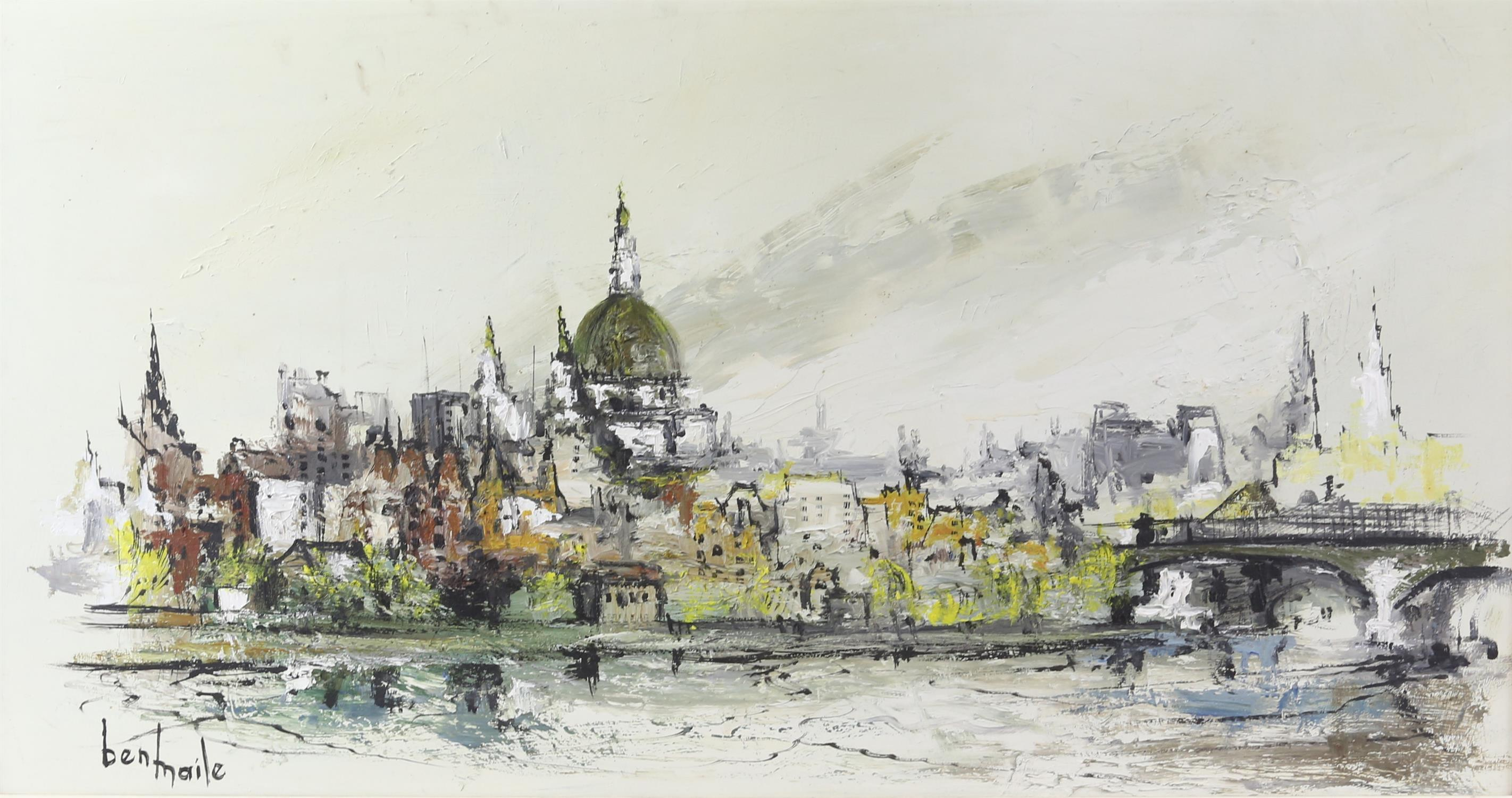 Ben Maile (British 1922-2017), 'St. Pauls from the Thames', signed, oil on board, 39 x 74.5cm,
