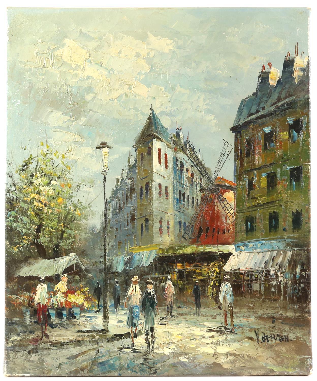 V. Bergen (20th century Continental school), Parisian street scene, oil on canvas,