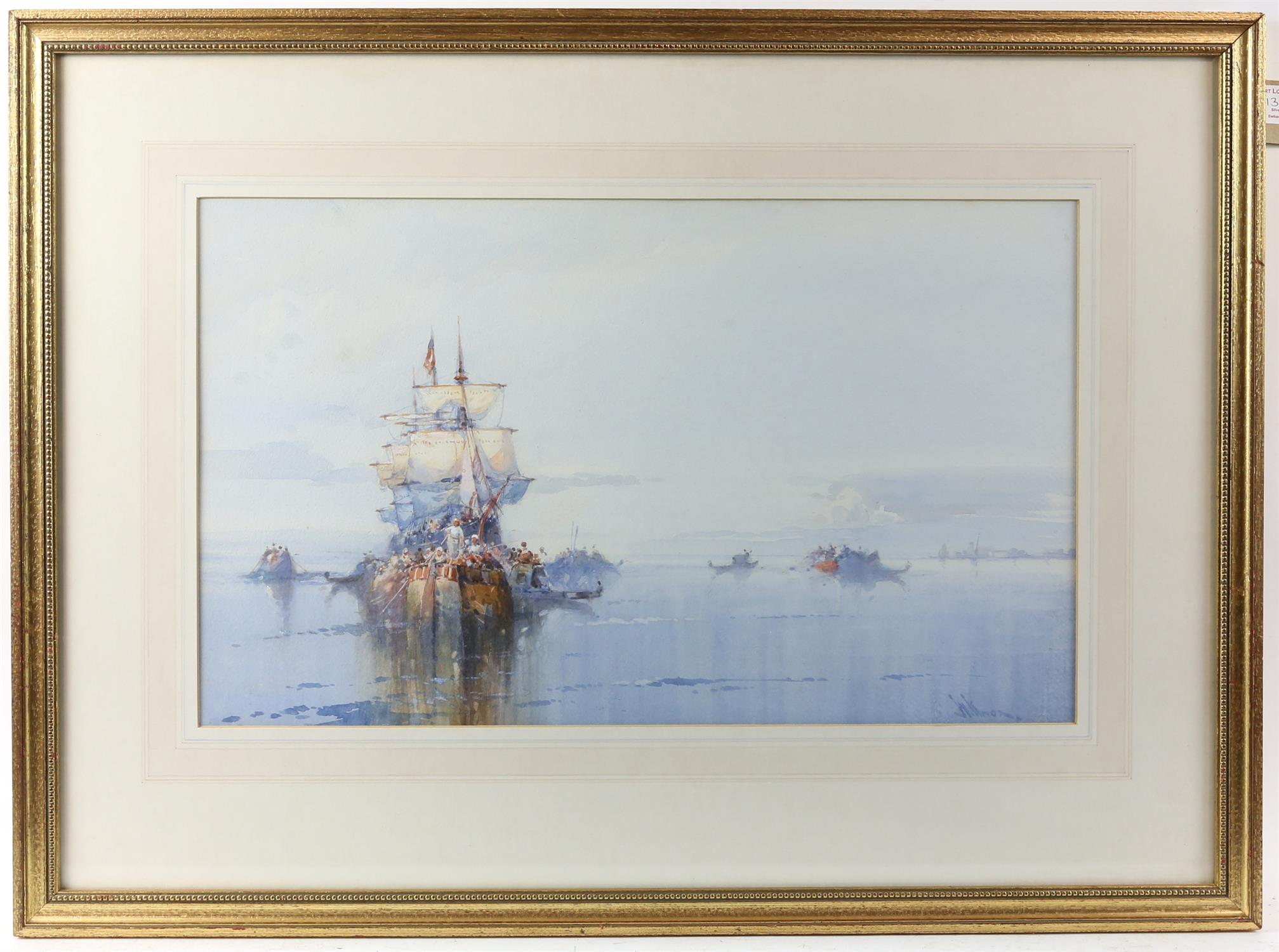 """Wilfred Knox (1884-1966) """"Off Venice"""" watercolour, signed, 29cm x 48cm, """"Dutch fishing boat at - Image 3 of 6"""