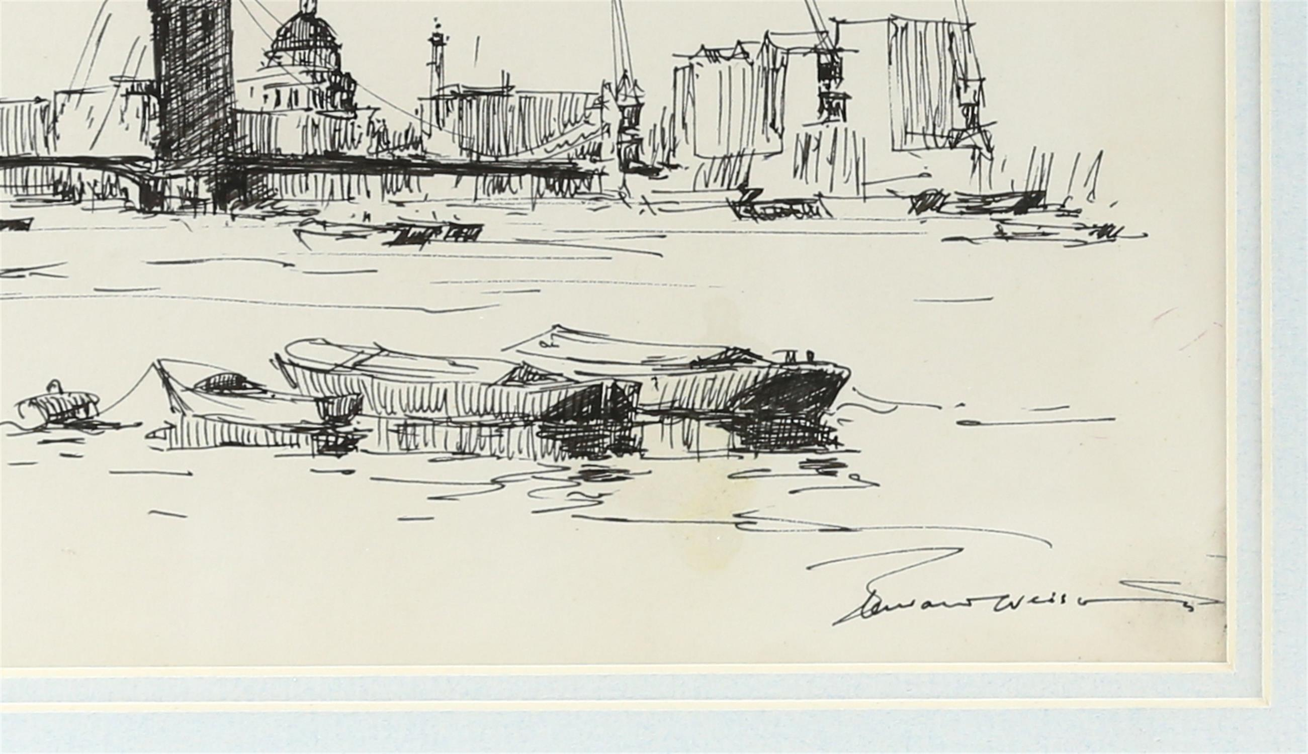 Edward Wesson (British 1910-1983), 'View from Rotherhithe', signed and dated '56, pen and ink, - Image 4 of 4