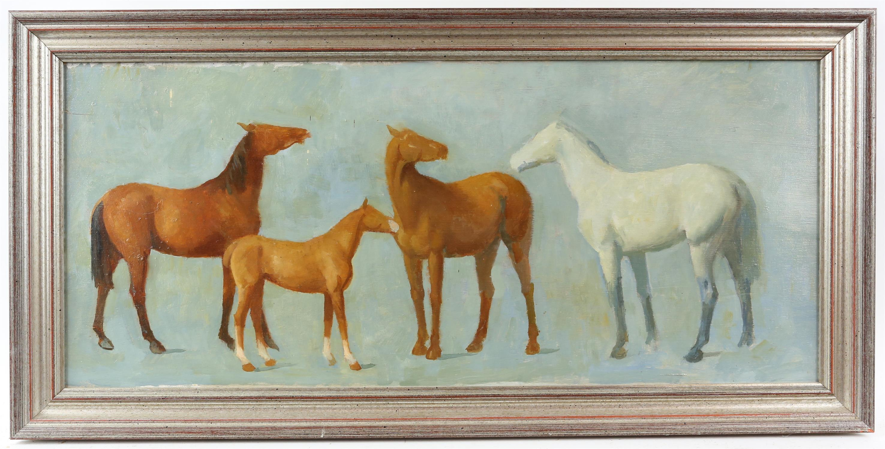 § Lionel Ellis (1903-1988). Four horses on a blue ground. Oil on board, unsigned. 34 x 69cms. - Image 2 of 3