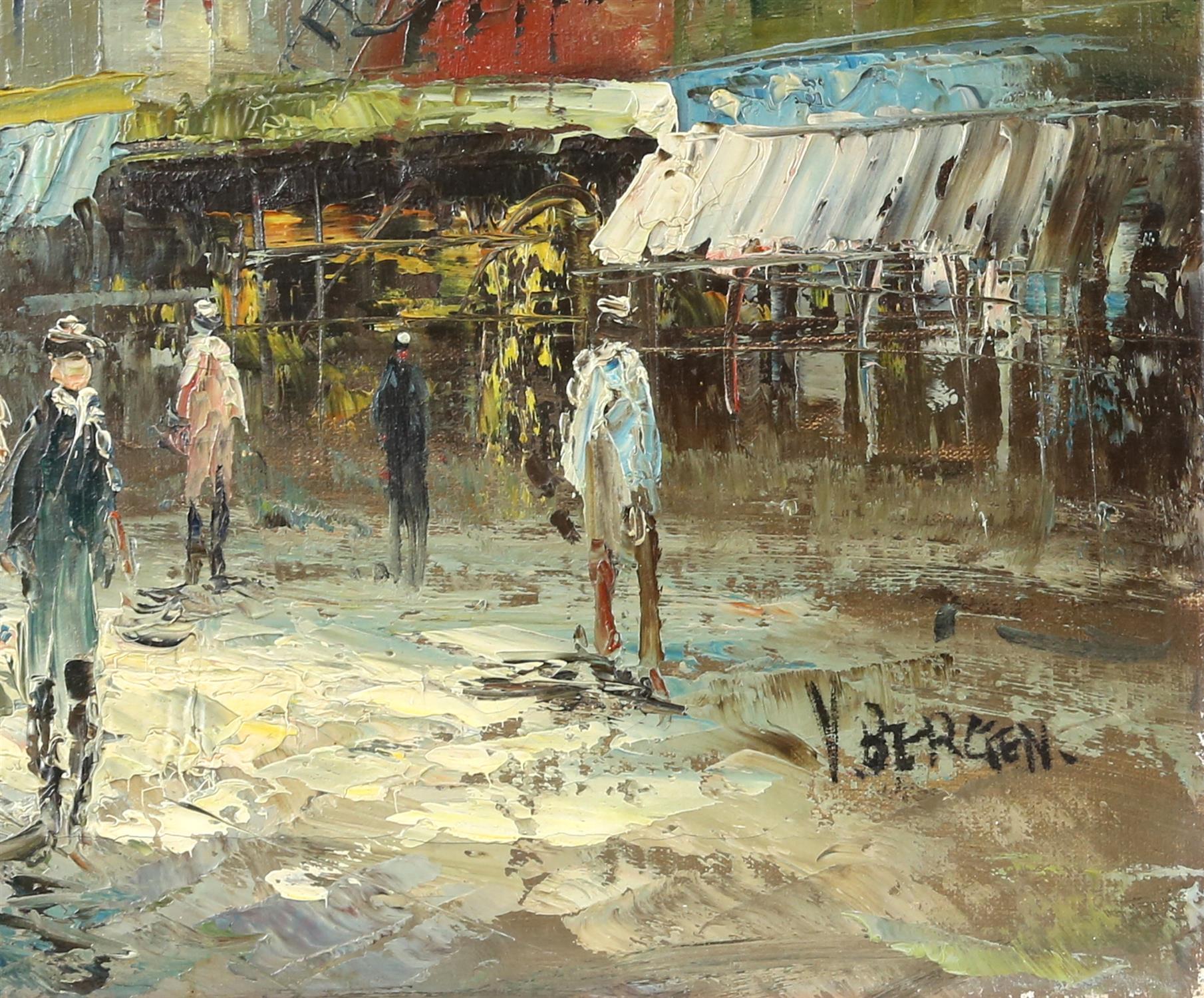 V. Bergen (20th century Continental school), Parisian street scene, oil on canvas, - Image 3 of 3