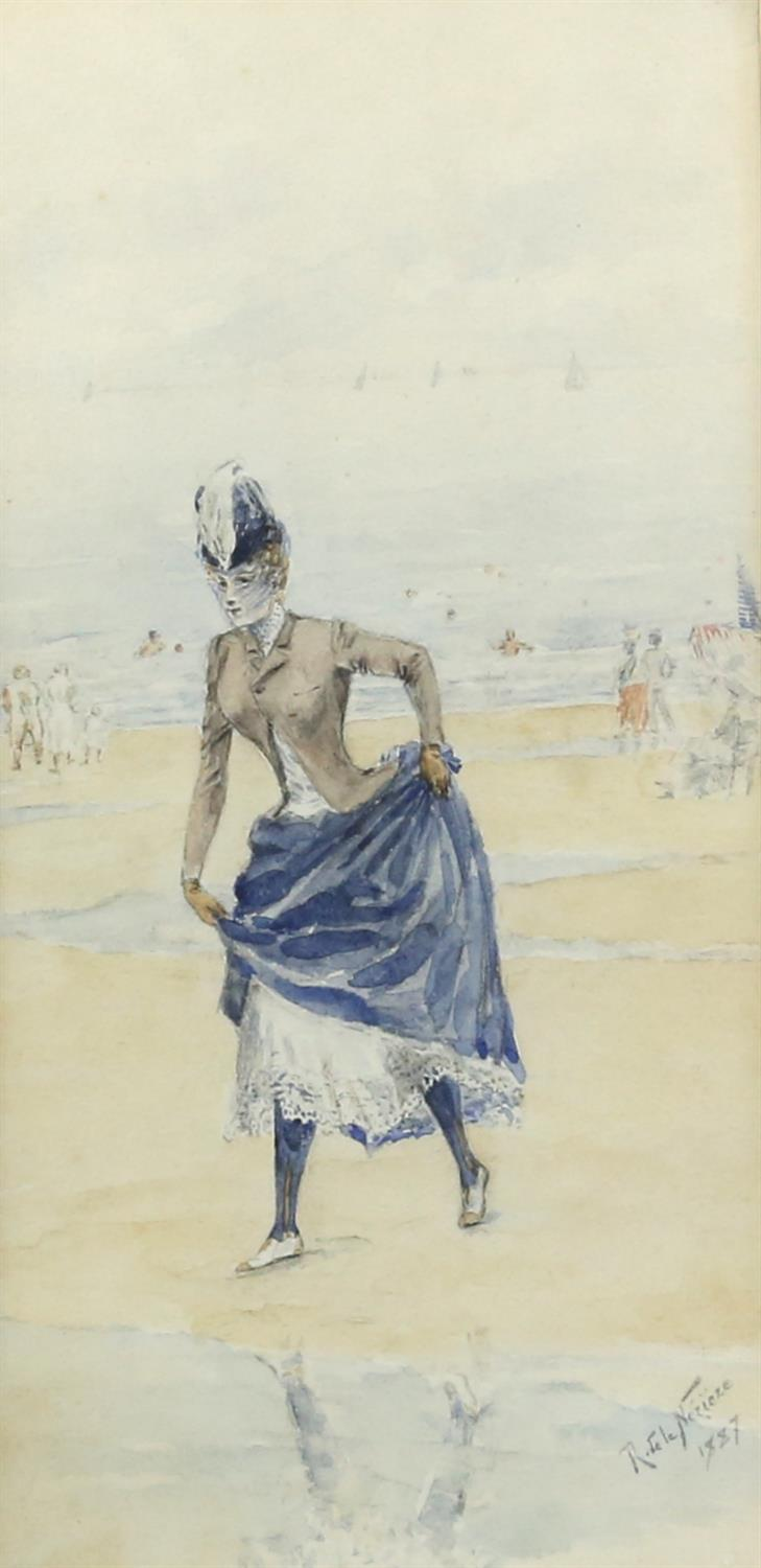 Raymond de la Neziere, French 1865-1953, lady in a long dress on a beach, signed and dated 1887,
