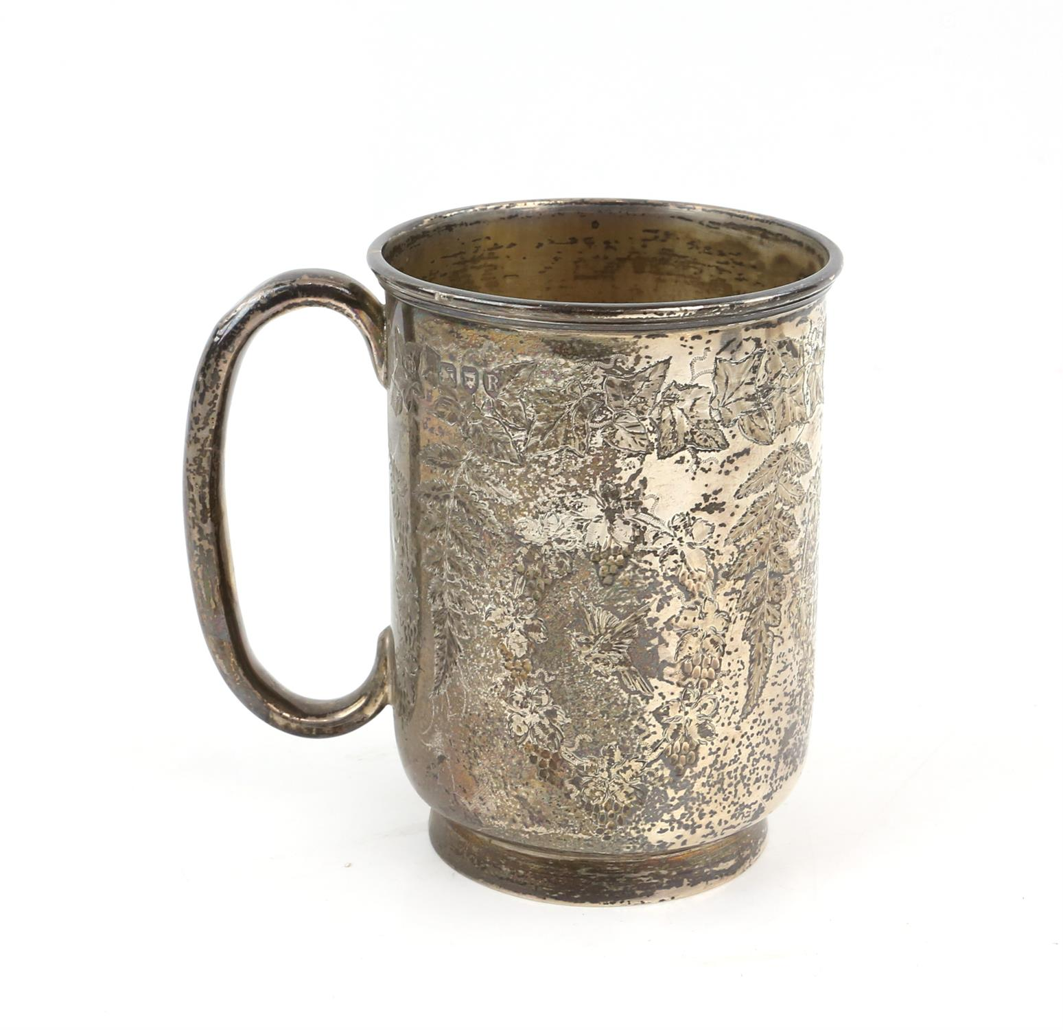 Victorian fern engraved silver mug, a silver sauce boat, a silver small trophy cup 403 grms 13 ozs - Image 7 of 10