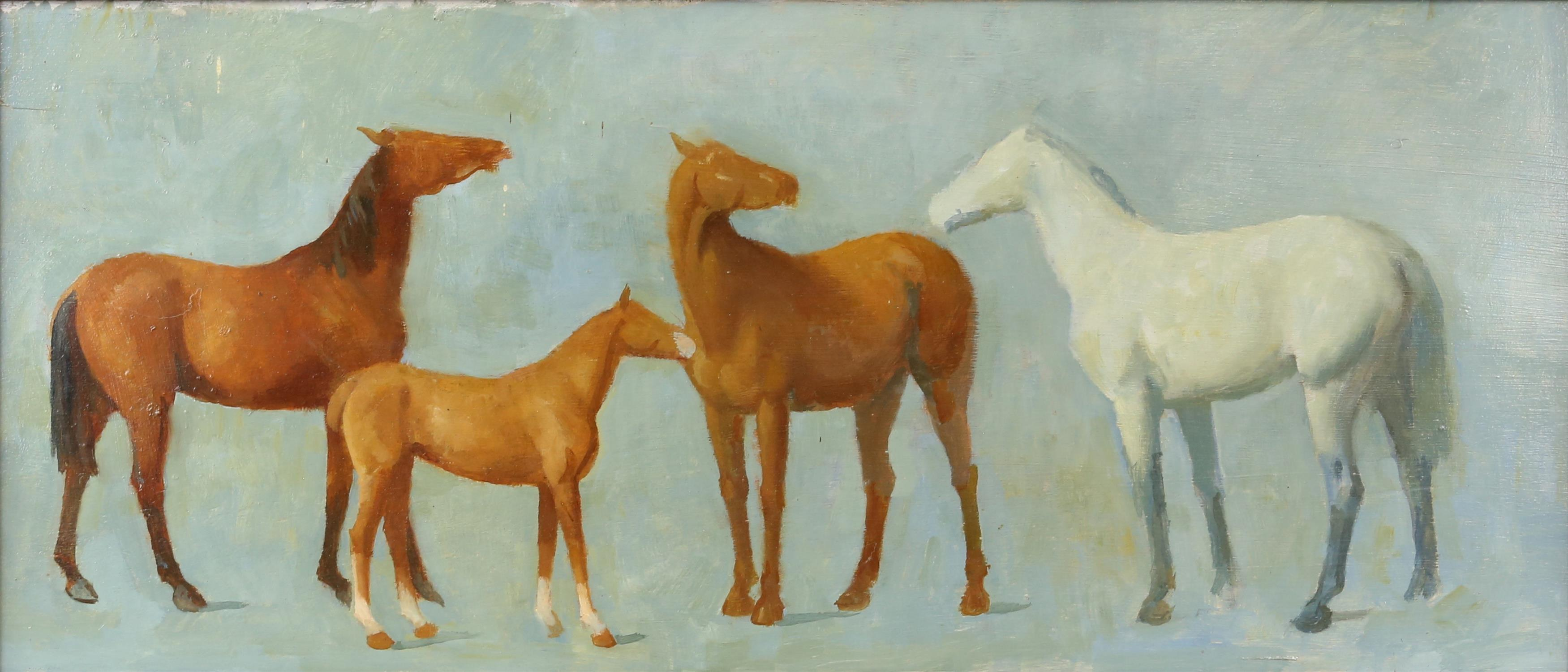 § Lionel Ellis (1903-1988). Four horses on a blue ground. Oil on board, unsigned. 34 x 69cms.