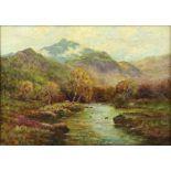 § Alfred Fontville de Breanski (British, 1877-1957), Autumn in Glen Finglas, oil on artists board,
