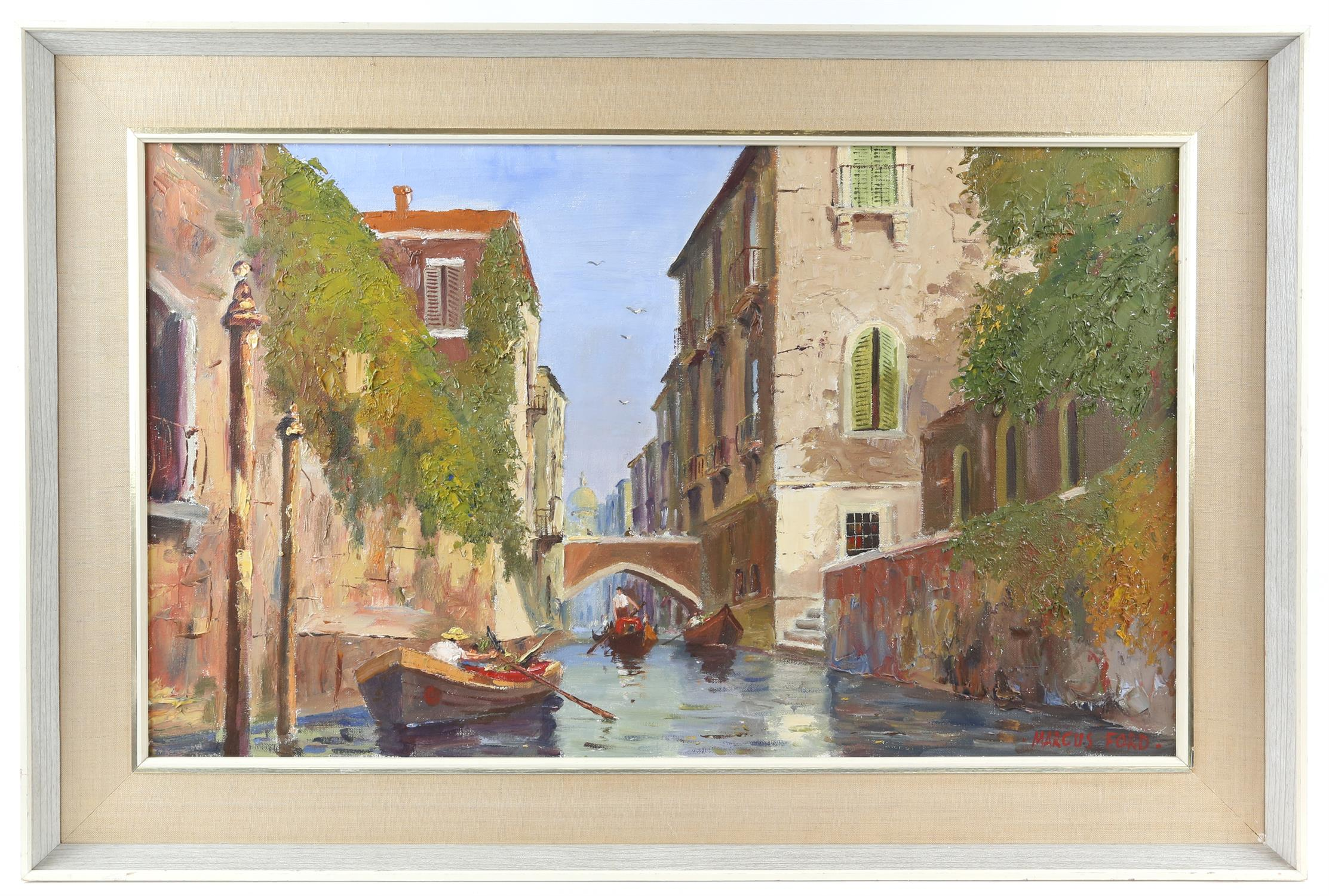Marcus Ford (British 1914-1989), Venice canal scene, signed, oil on canvas, 44.5 x 74.5cm, - Image 2 of 4