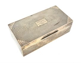 George V Art Deco engine turned silver cigarette box London 1933, 18 cms, gross weight 530 grms