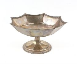 George V octagonal silver tazza with decorated borders on a round foot, by Frank Cobb and Co.