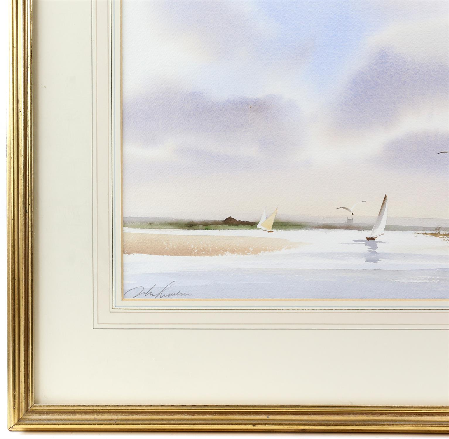 Three contemporary maritime watercolours, yachts at sea, signed indistinctly lower left. - Image 4 of 8