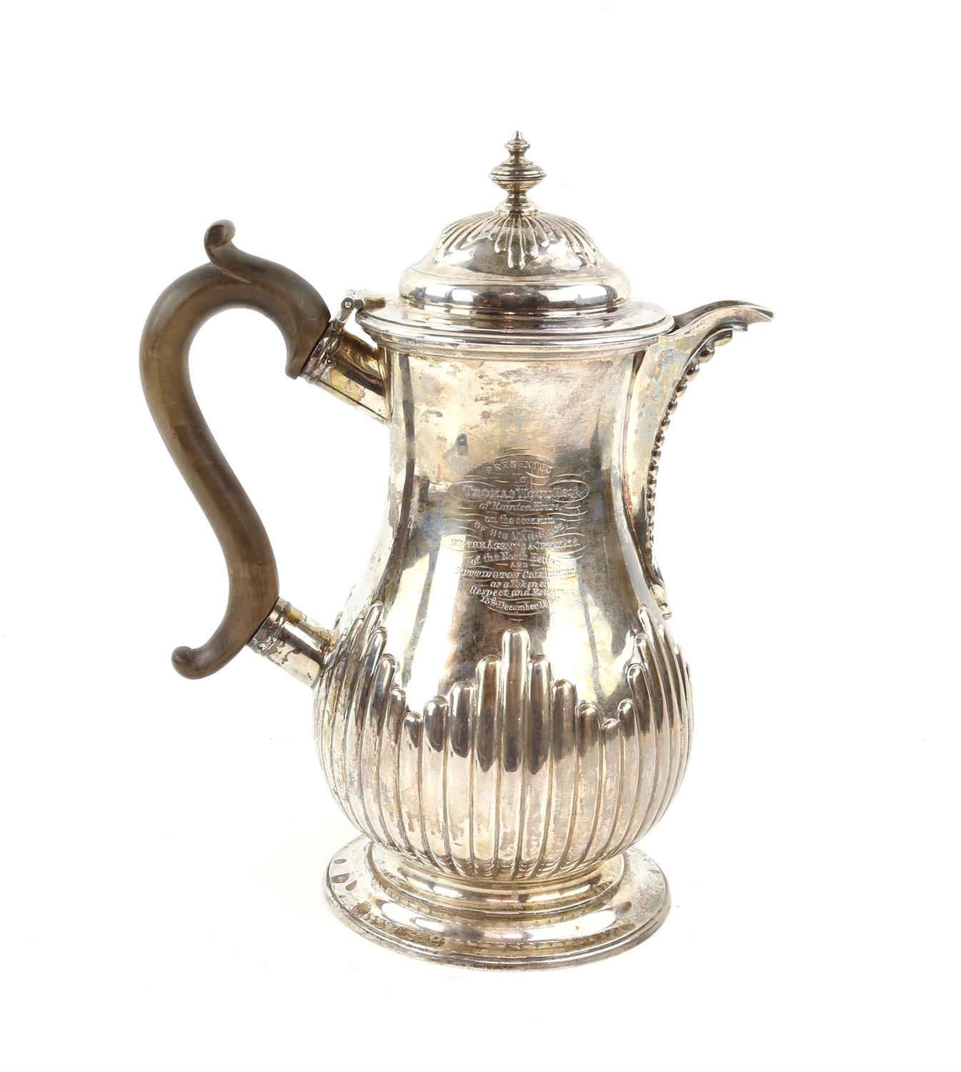 George III silver jug by John Emes, London 1798,half reeded decoration the cover with urn finial,
