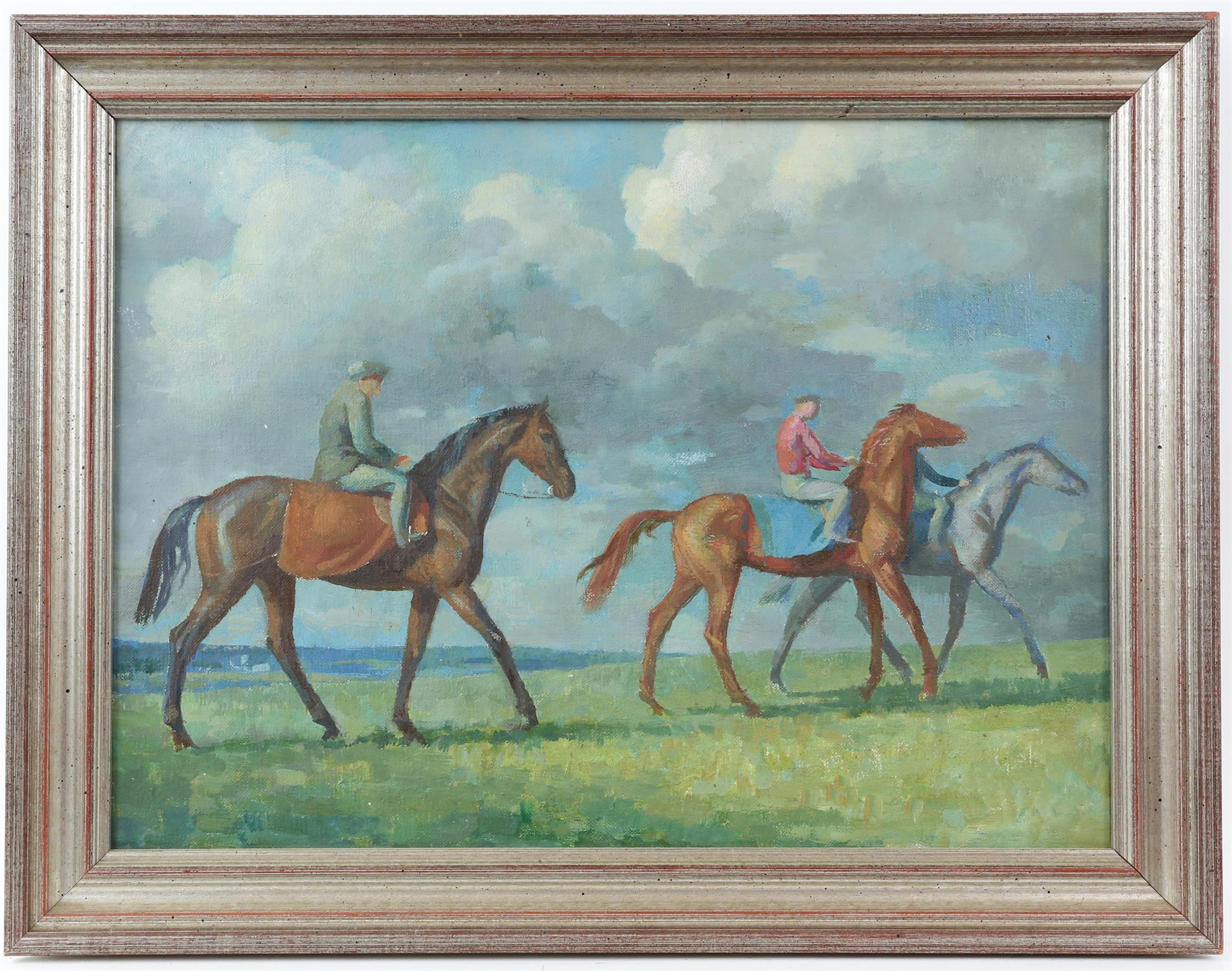§ Lionel Ellis (1903-1988) Riders in a landscape. Oil on canvas, unsigned. 38 x 48cm. - Image 2 of 3