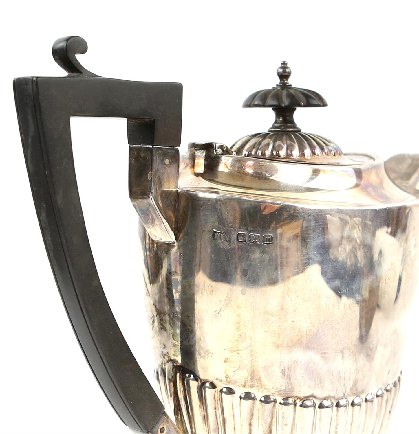 George V half reeded silver four piece tea and coffee service comprising teapot, coffee pot, - Image 3 of 9