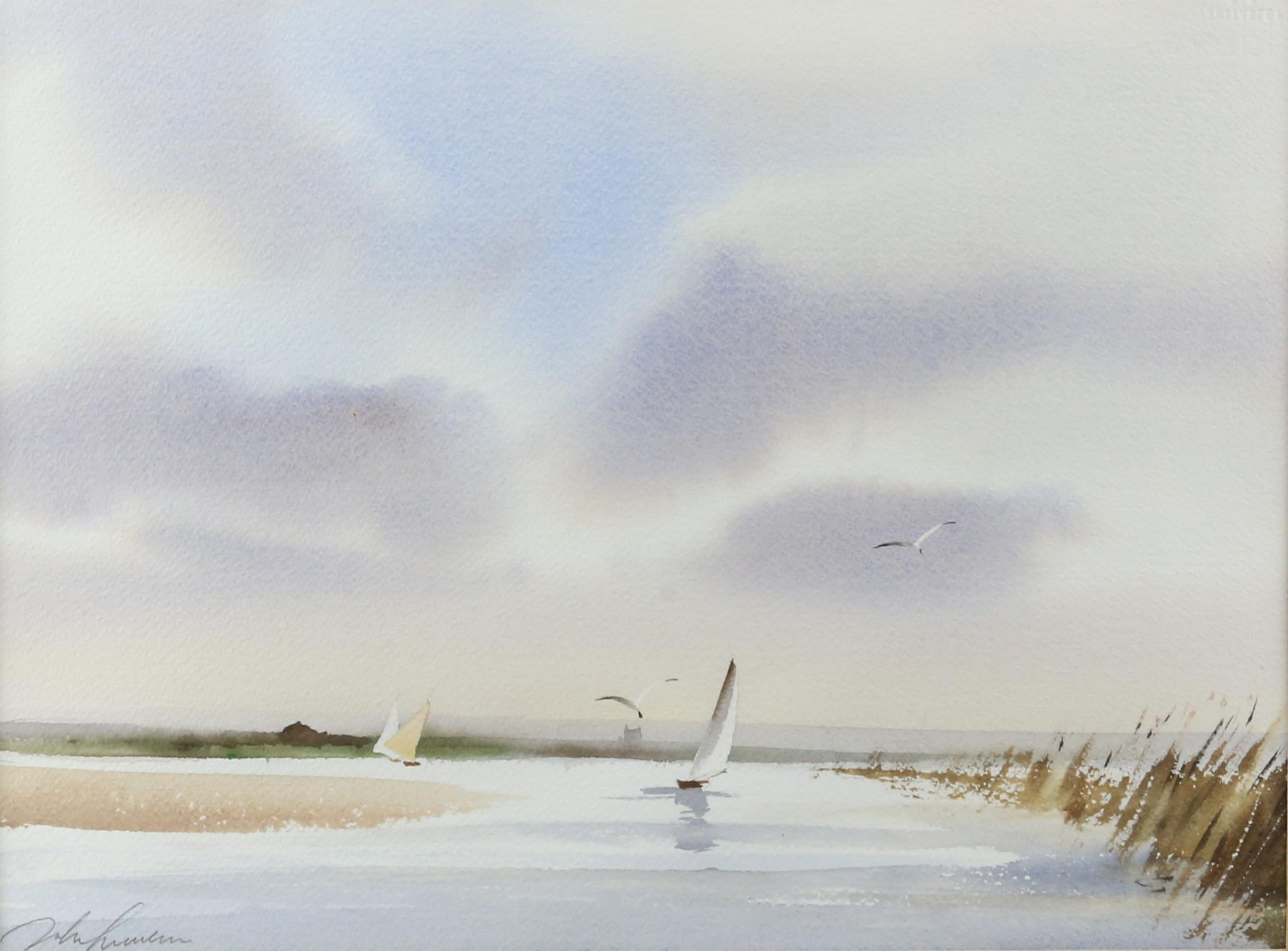 Three contemporary maritime watercolours, yachts at sea, signed indistinctly lower left.