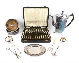 Cased set of 12 rat's tail soup spoons by Mappin and Webb Ltd. coffee pot, pair of bottle coasters,
