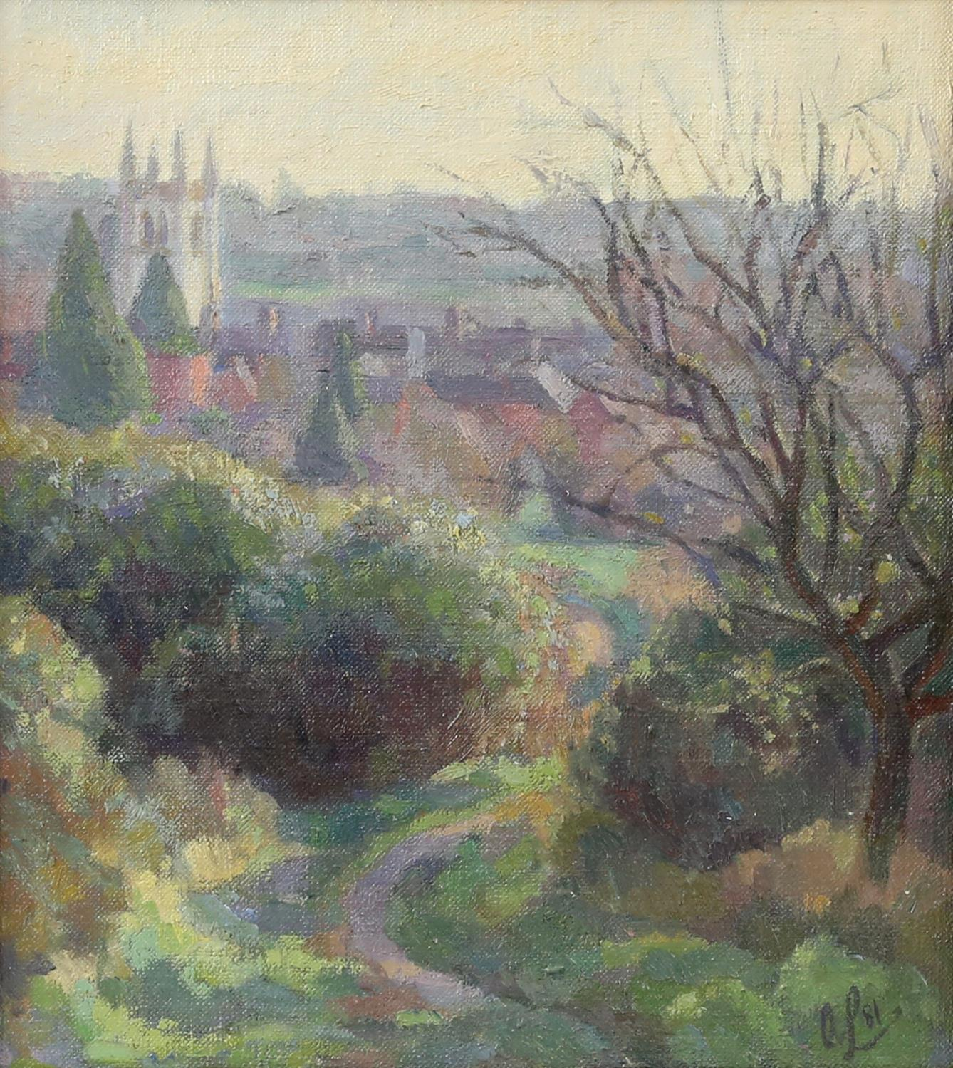 Alan Leishman (British contemporary),'Farnham from Above the Hart, Morning'. Oil on canvas.