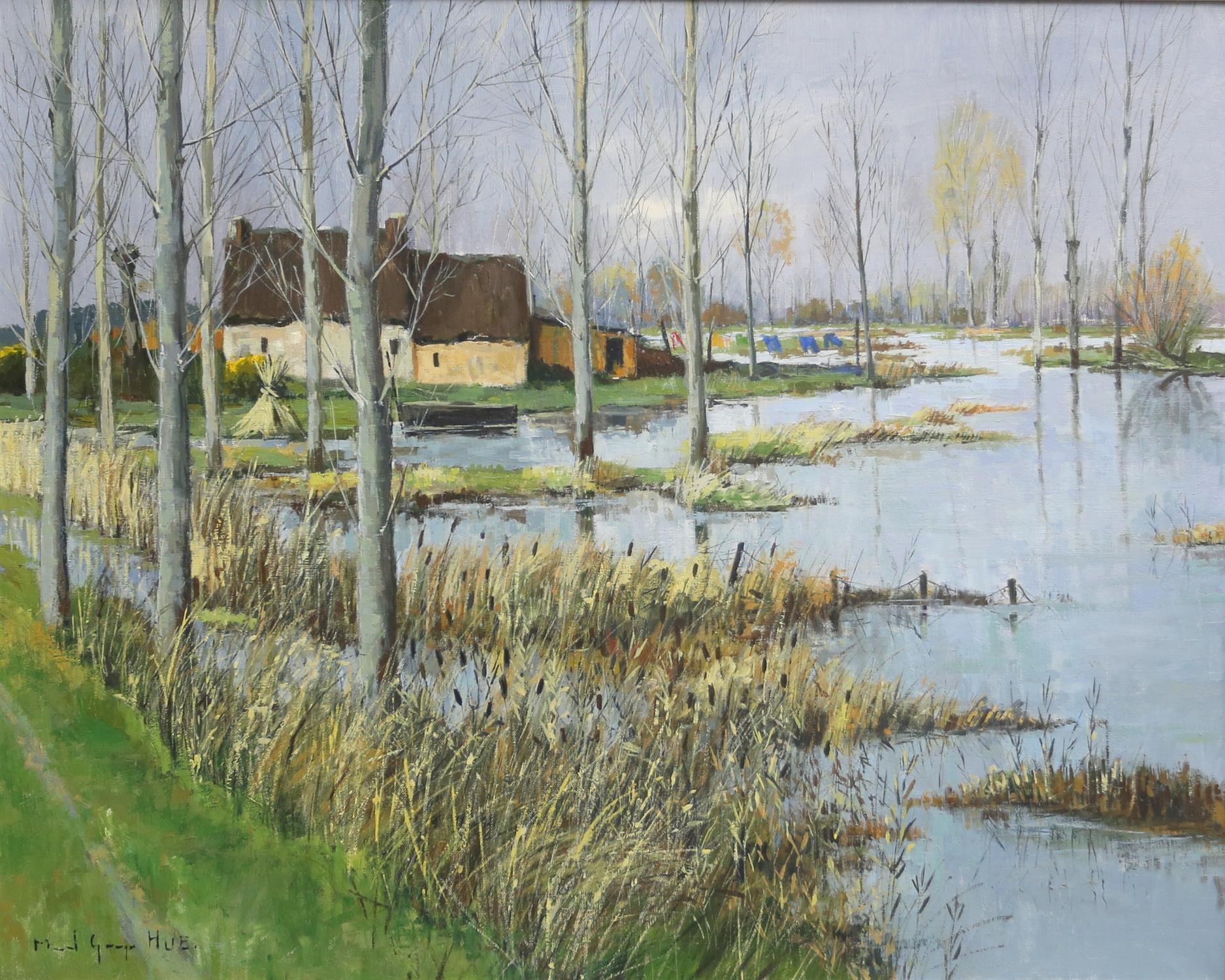 Marcel Georges Hue (b. 1907). 'Les Paysage en Briere', lakeside landscape. Oil on canvas,