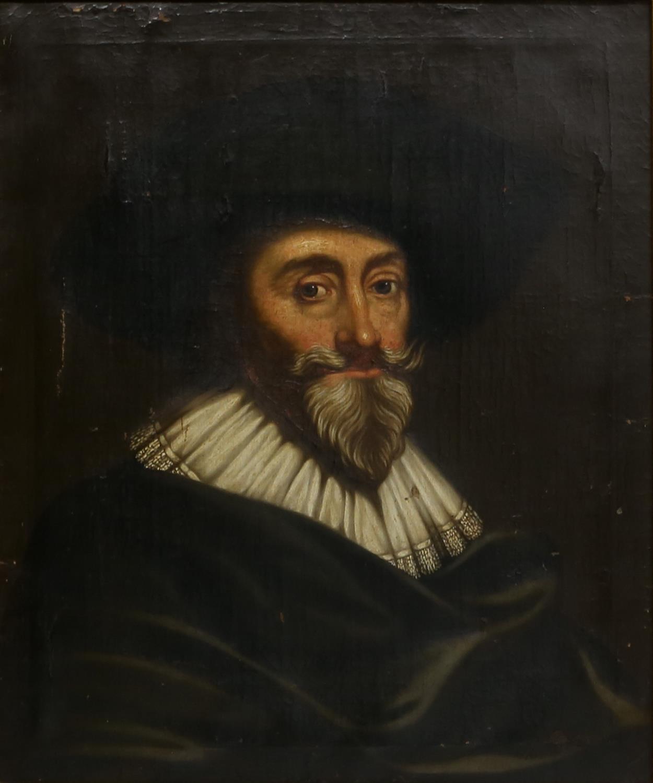 18th century English school, Portrait of a 17th century gentleman, oil on canvas,