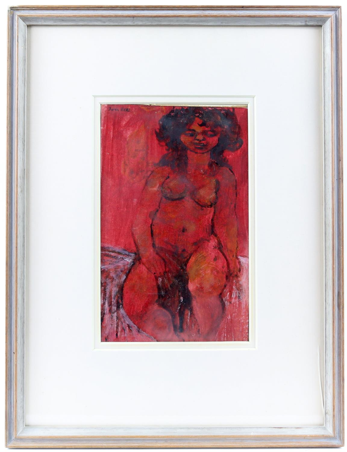 John Bell, nude study. Watercolour and ink on paper. Signed top left. Framed and glazed. - Image 2 of 3