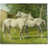 § Lionel Ellis (1903-1988) Two Grey Horses in a Paddock. Oil on panel, 1977. Signed and dated lower