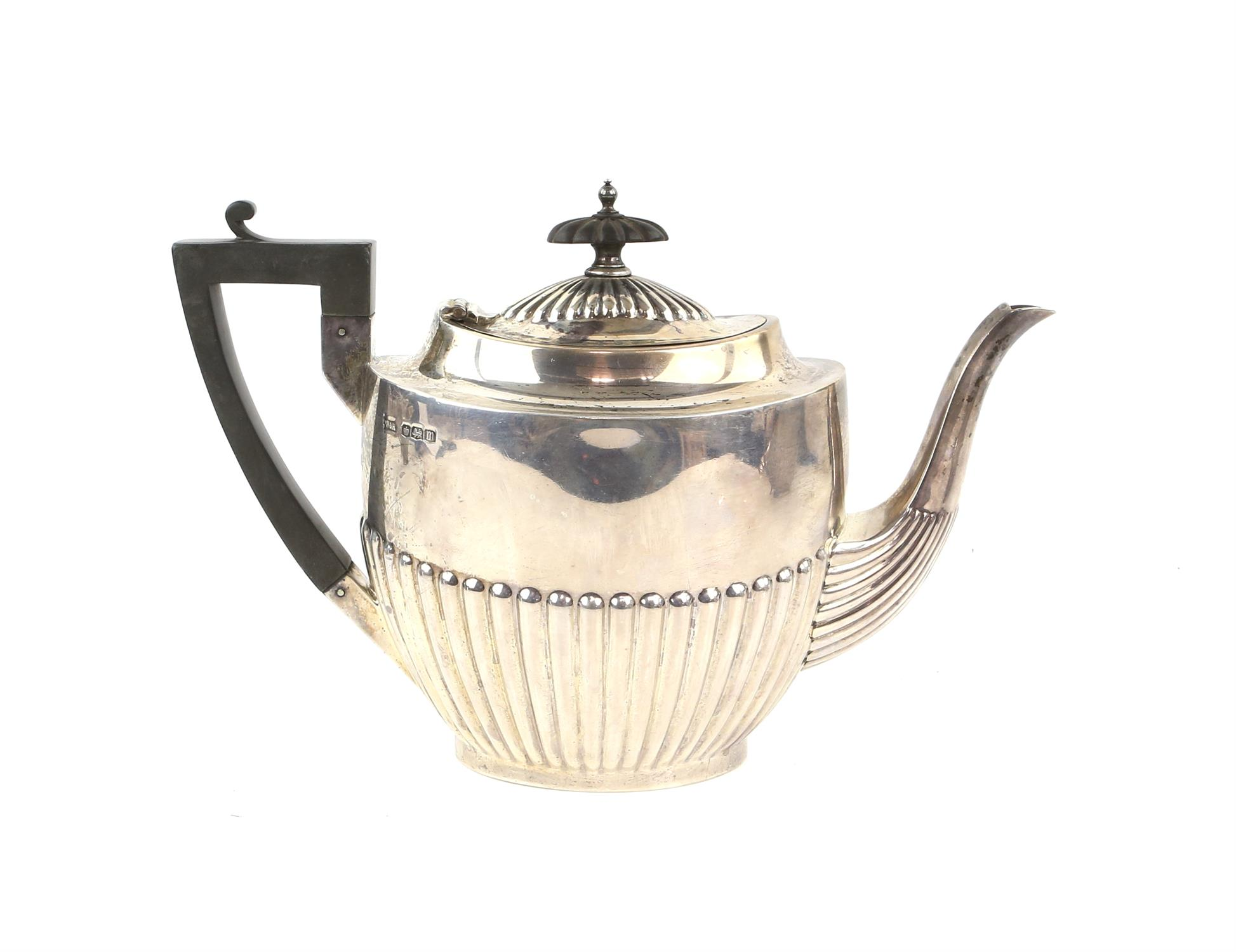 George V half reeded silver four piece tea and coffee service comprising teapot, coffee pot, - Image 6 of 9