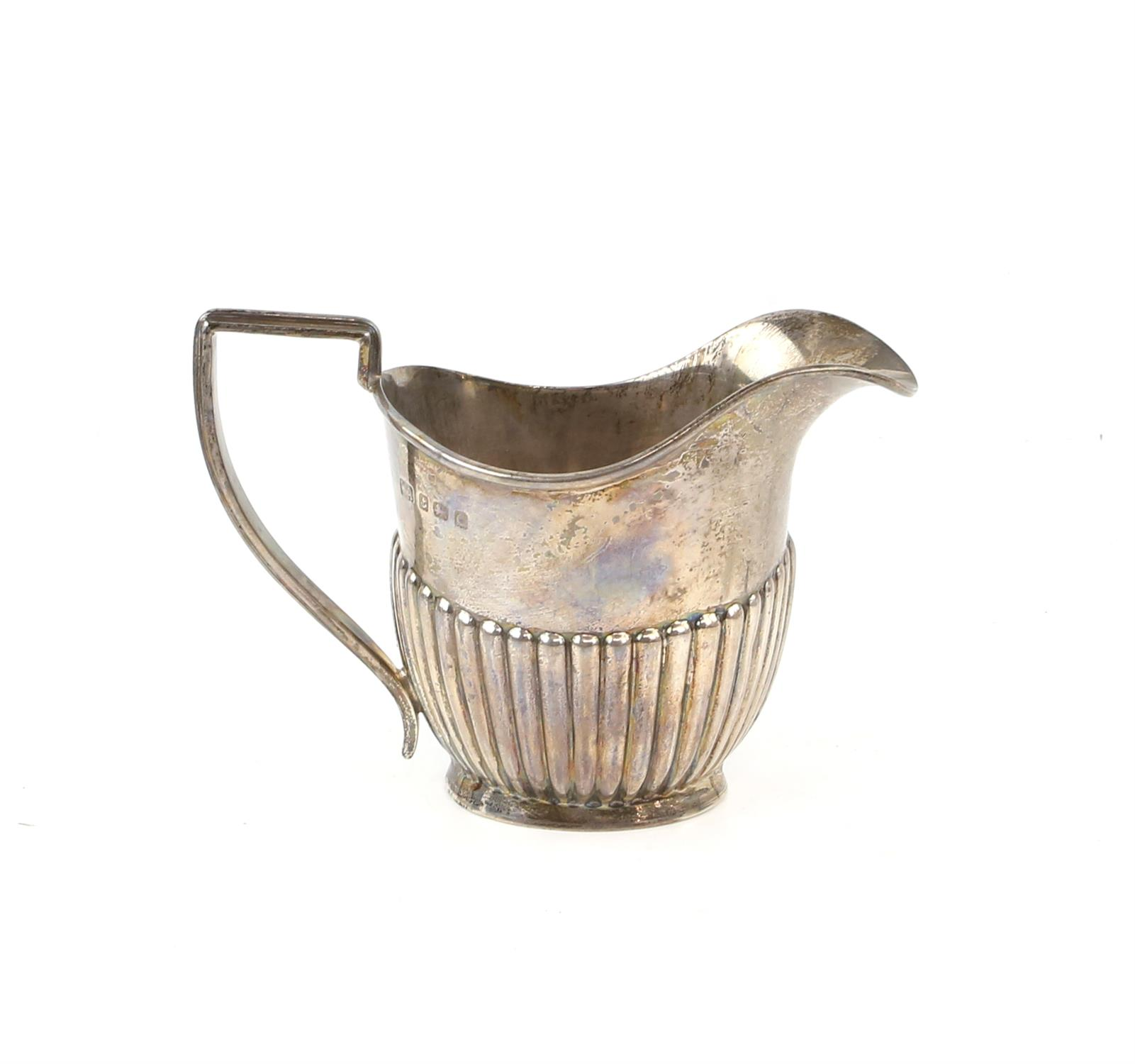 George V half reeded silver four piece tea and coffee service comprising teapot, coffee pot, - Image 8 of 9