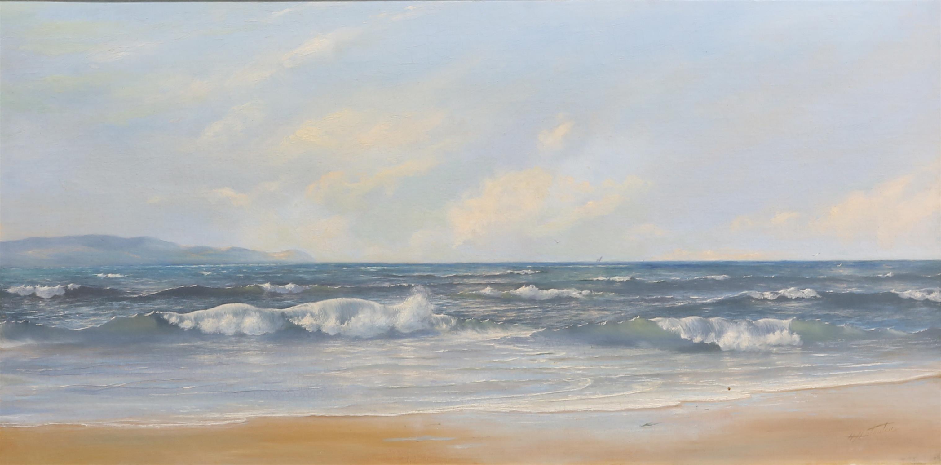 H. H. Stanton (British, twentieth century), seascape. Oil on canvas. Signed lower right. Framed.