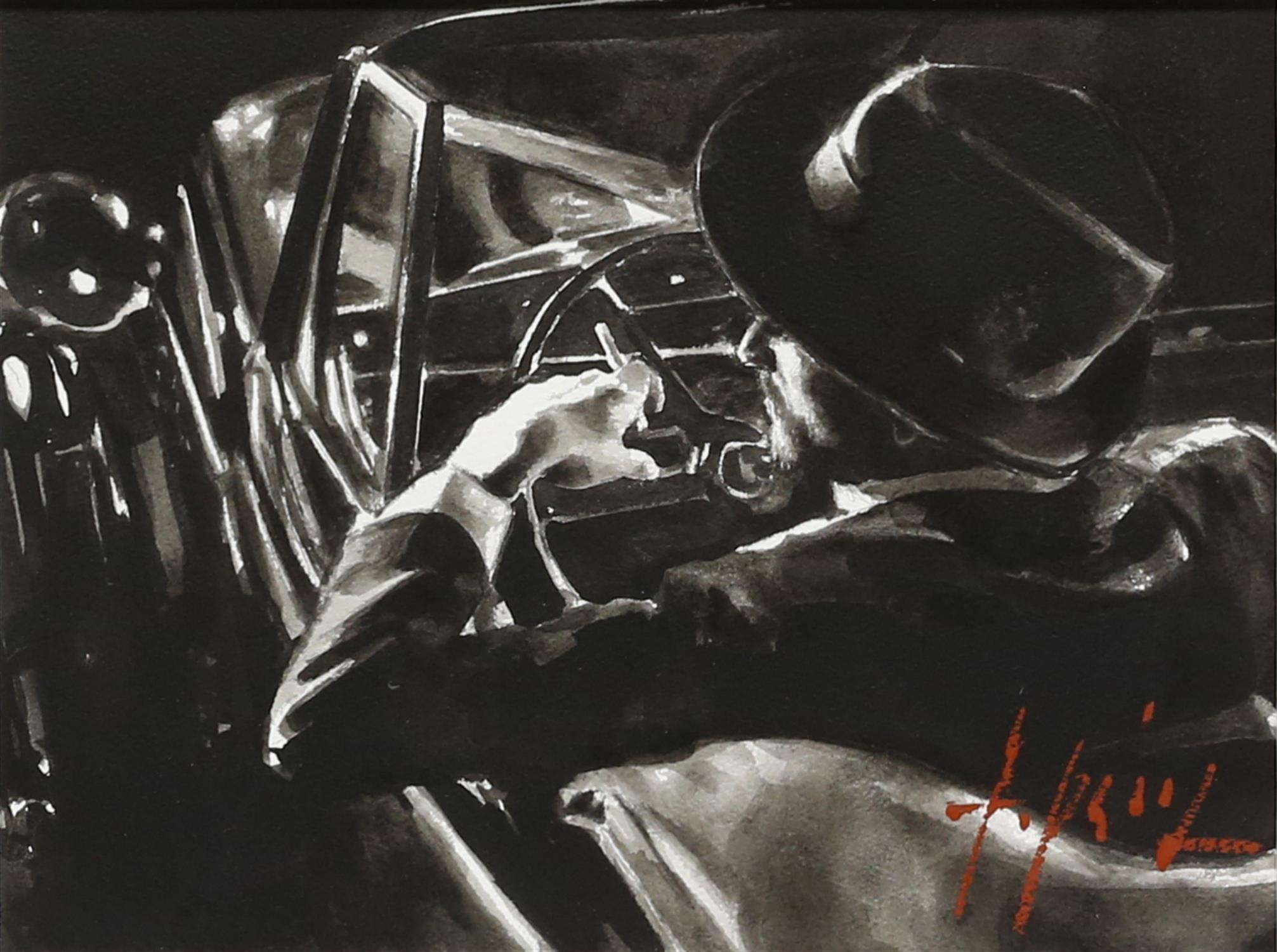 § Fabian Perez (Argentinian b.1967). 'Black and Classic' ink on paper, signed, 40 x 30cm.