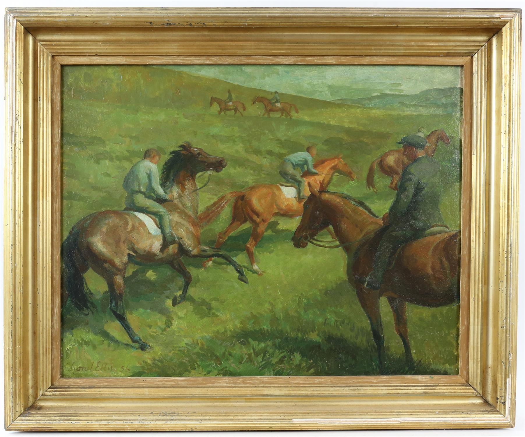 § Lionel Ellis (1903-1988) Horsemen on a hillside. Oil in board 1956, signed and dated lower left. - Image 2 of 4
