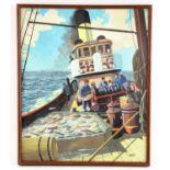 Walter Gray - 4 original poster artworks of Chieftan in dry docks in Scotland, shipyard in Glasgow,