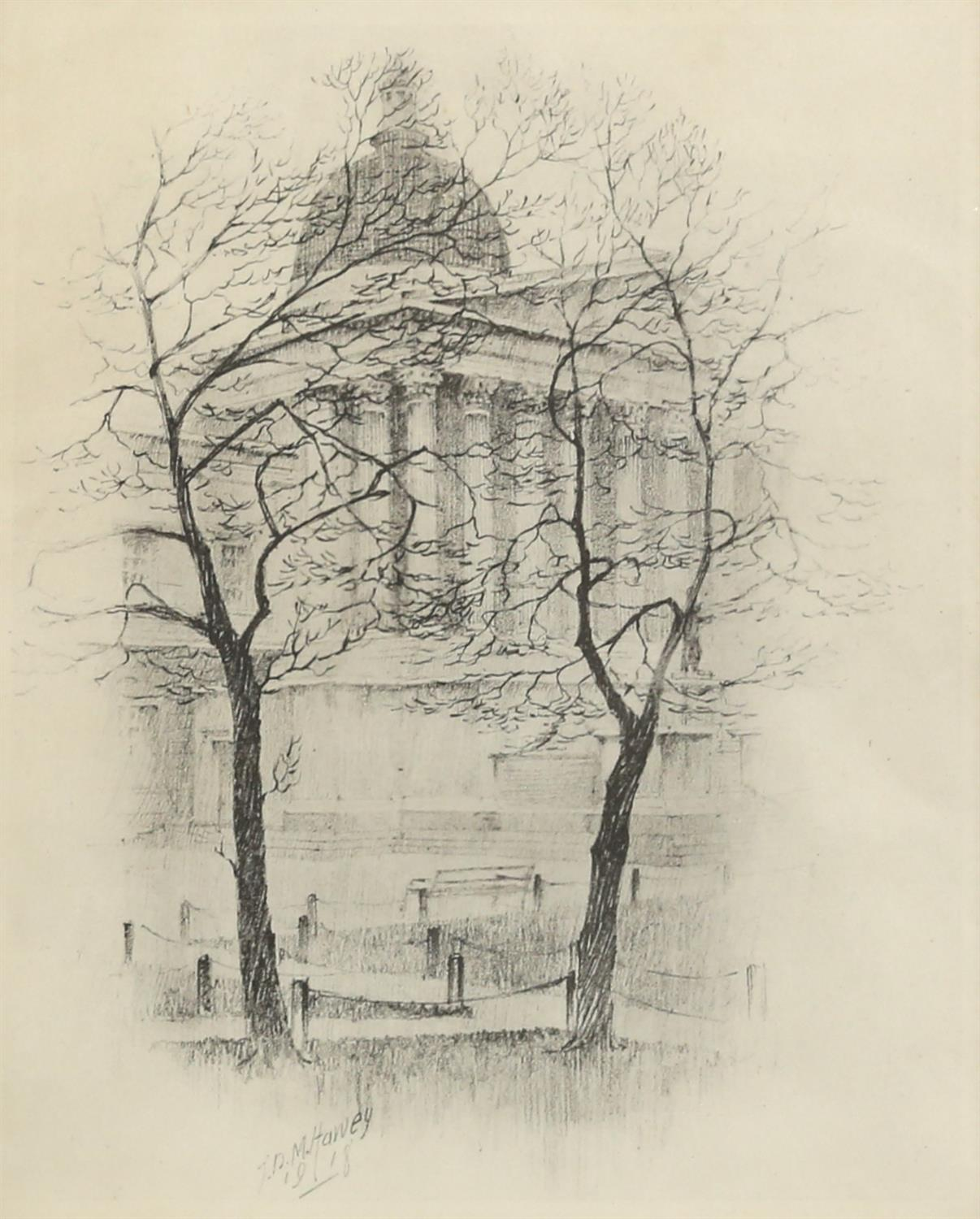 John Dean Monroe Harvey (1895-1978). Pair of Architectural Studies, possibly St Pauls. - Image 3 of 5