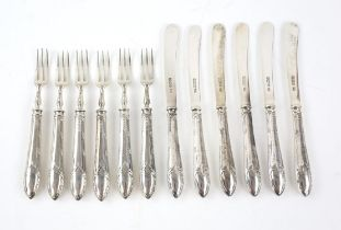 Set of six tea knives and forks with filled handles, Sheffield 1922, sifter spoon and various tea