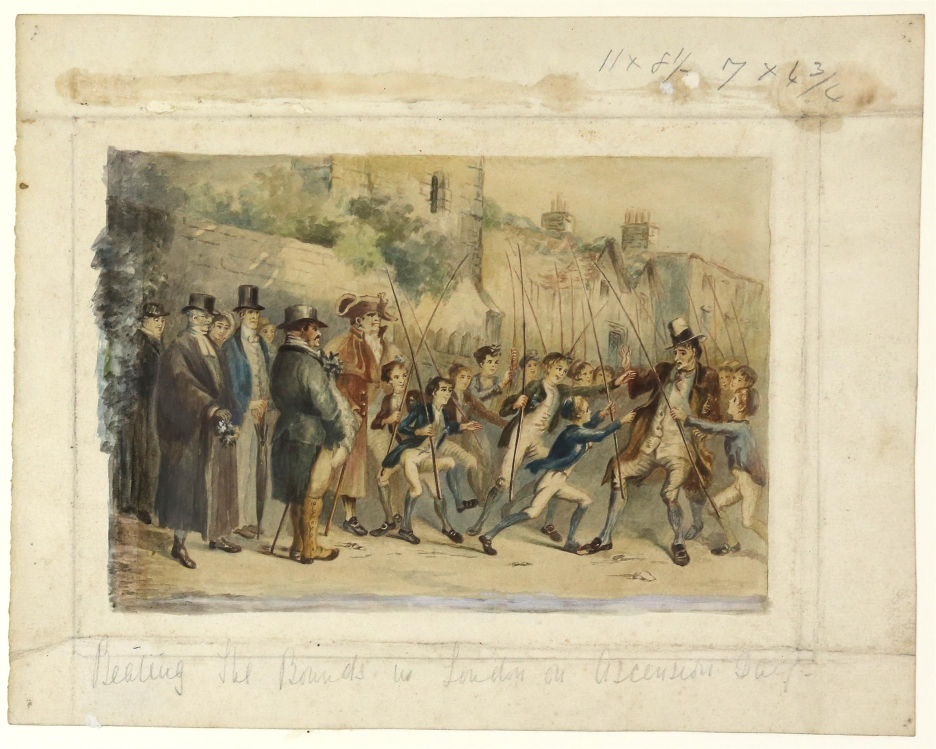 Style of George Cruikshank, 19th century, 'Beating the bounds in London on Ascension Day',