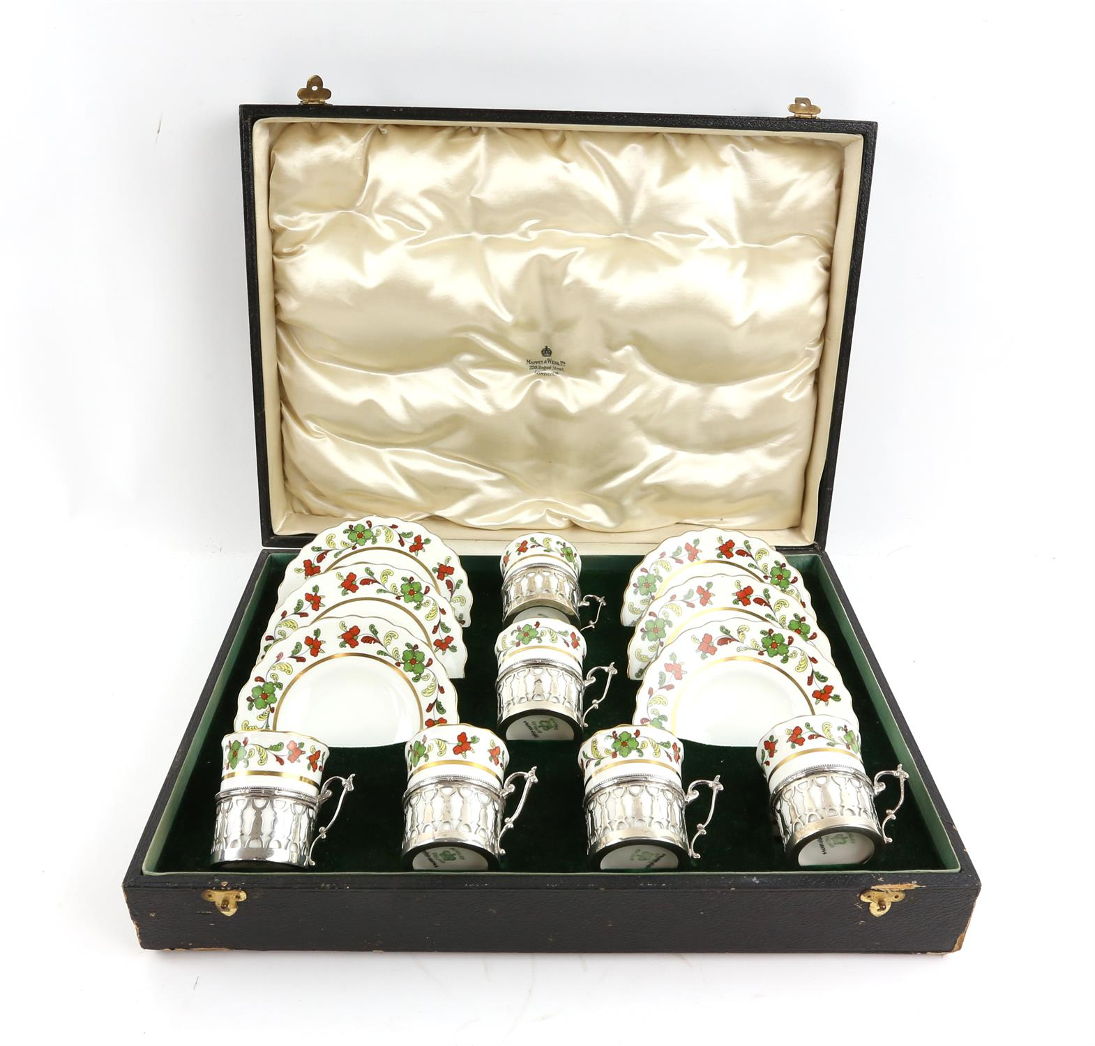 George V Aynsley coffee set with six coffee cups in silver holders, London 1912, and saucers, - Image 7 of 7