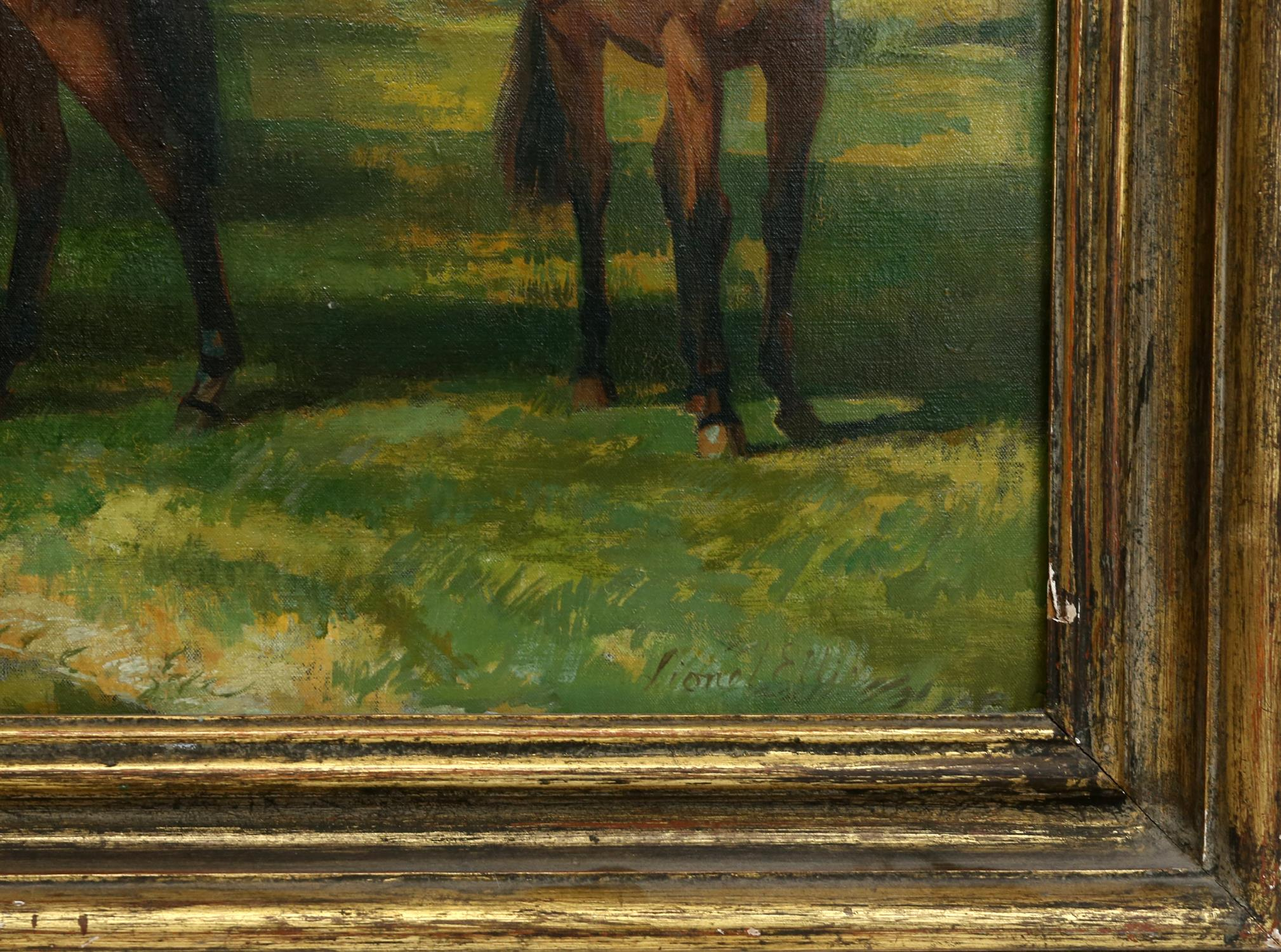 § Lionel Ellis (1903-1988). Three Horses Standing Beneath a Tree. Signed lower right. Oil on canvas. - Image 4 of 4