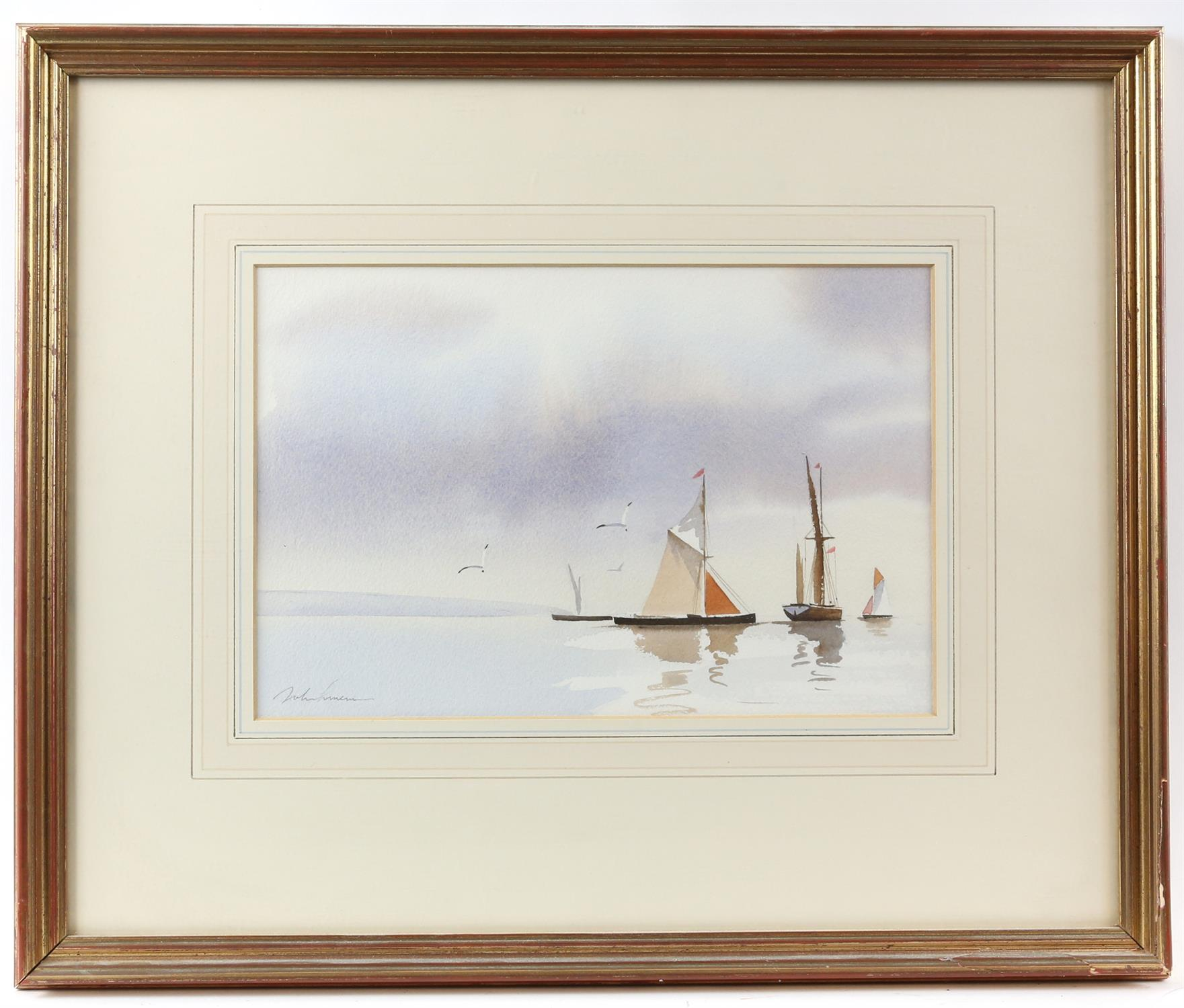 Three contemporary maritime watercolours, yachts at sea, signed indistinctly lower left. - Image 5 of 8
