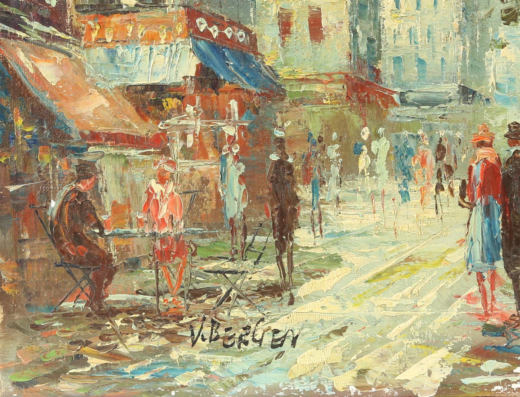 V. Bergen (20th century Continental school), pair of small Parisian street scene, oil on canvas, - Image 4 of 7