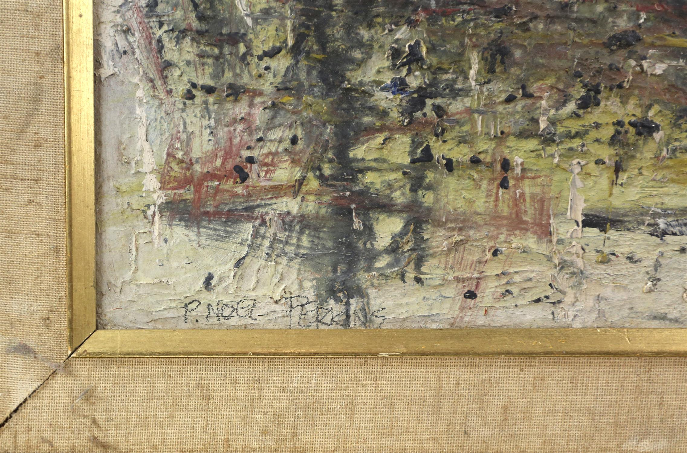 Peter Noel Perkins, abstract landscape. Oil on board. Signed lower left. Framed. Image size 33 x - Image 4 of 7