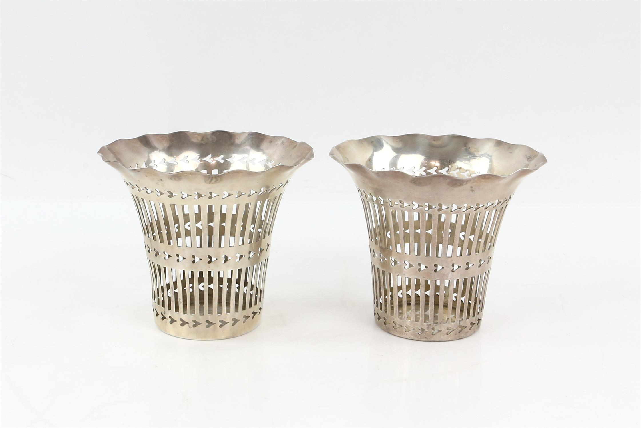 Edward VII pair of pierced silver vases by Cohen & Charles, Birmingham 1902-3, 9 cms high, - Image 2 of 4